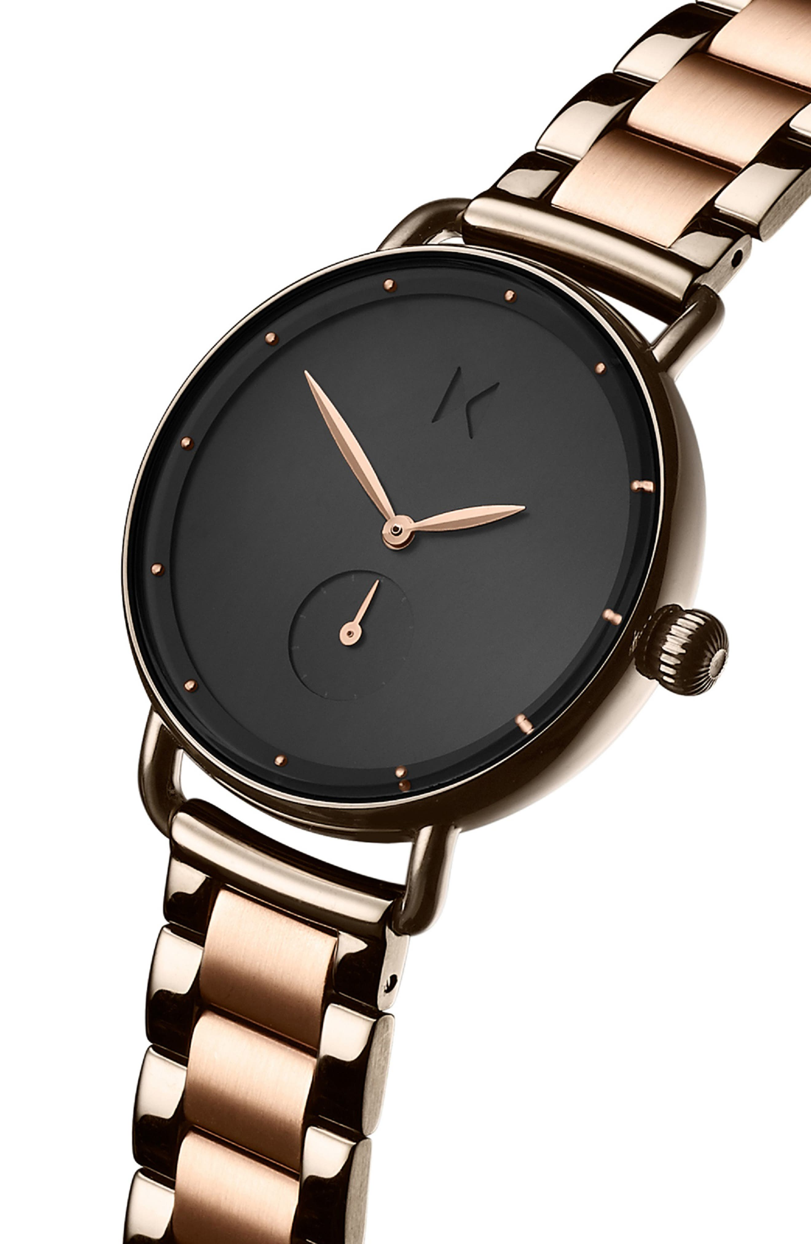 MVMT, Bloom Bracelet Watch, 36mm, Alternate thumbnail 3, color, ROSE GOLD/ GUNMETAL