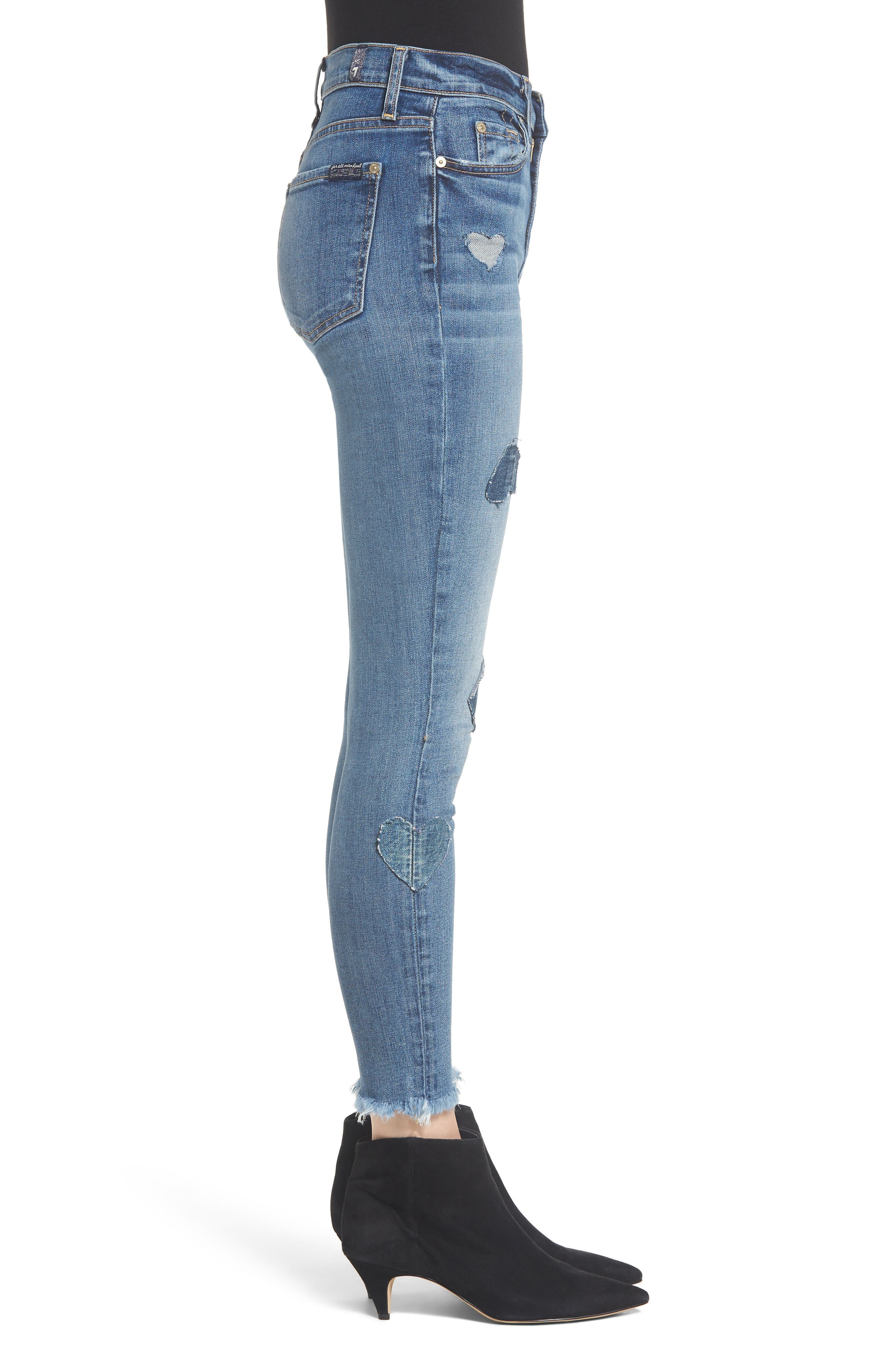 7 FOR ALL MANKIND<SUP>®</SUP>, Heart Patch Ankle Skinny Jeans, Alternate thumbnail 4, color, INDIGO SPRINGS