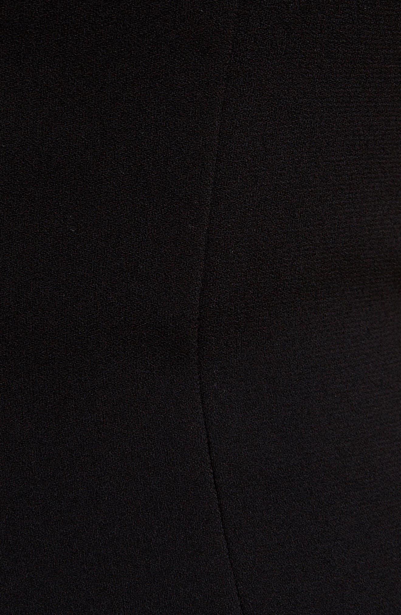 VICTORIA BECKHAM, Sheer Yoke Sheath Dress, Alternate thumbnail 5, color, BLACK