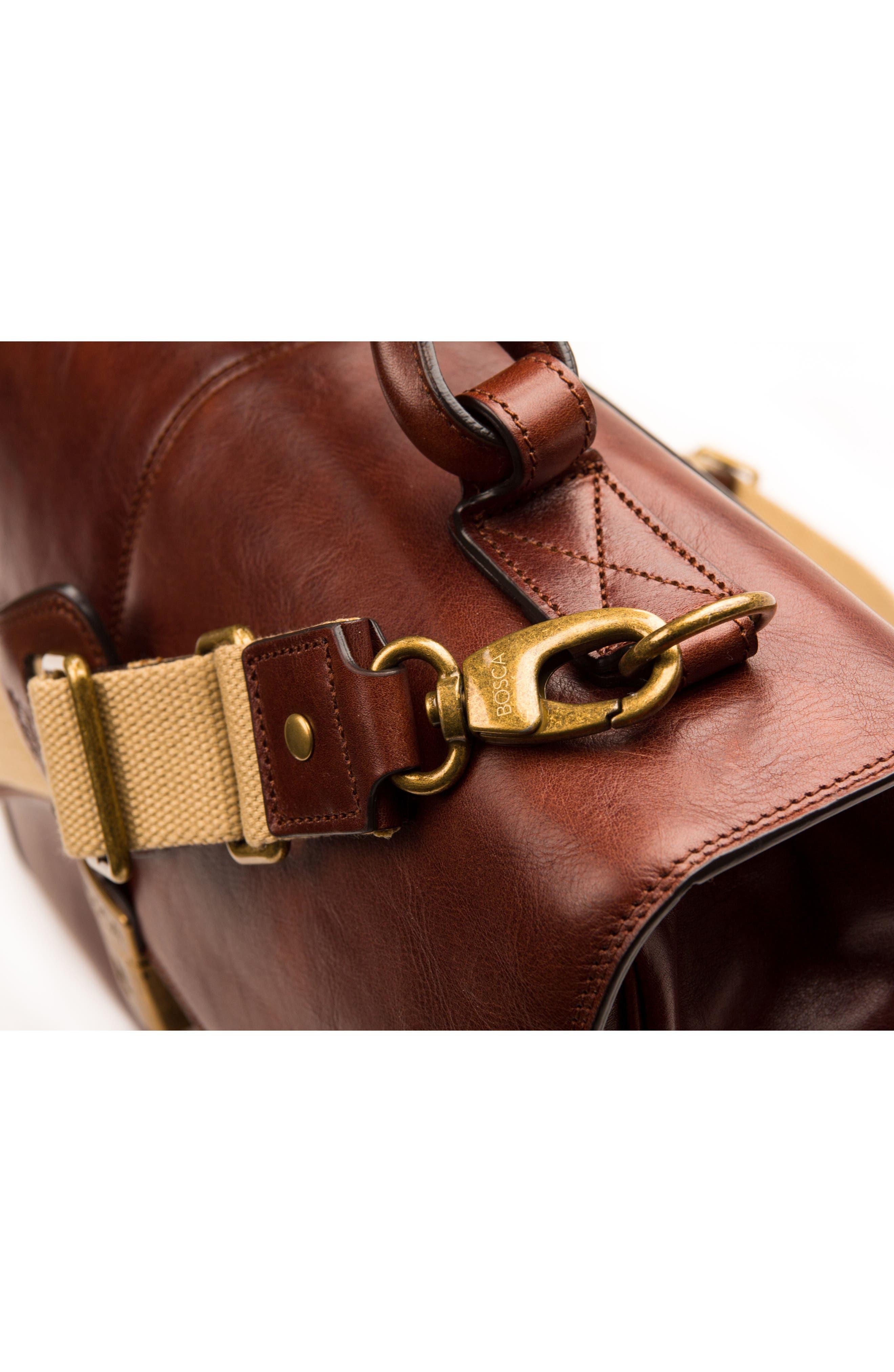 BOSCA, Leather Briefcase, Alternate thumbnail 6, color, DARK BROWN