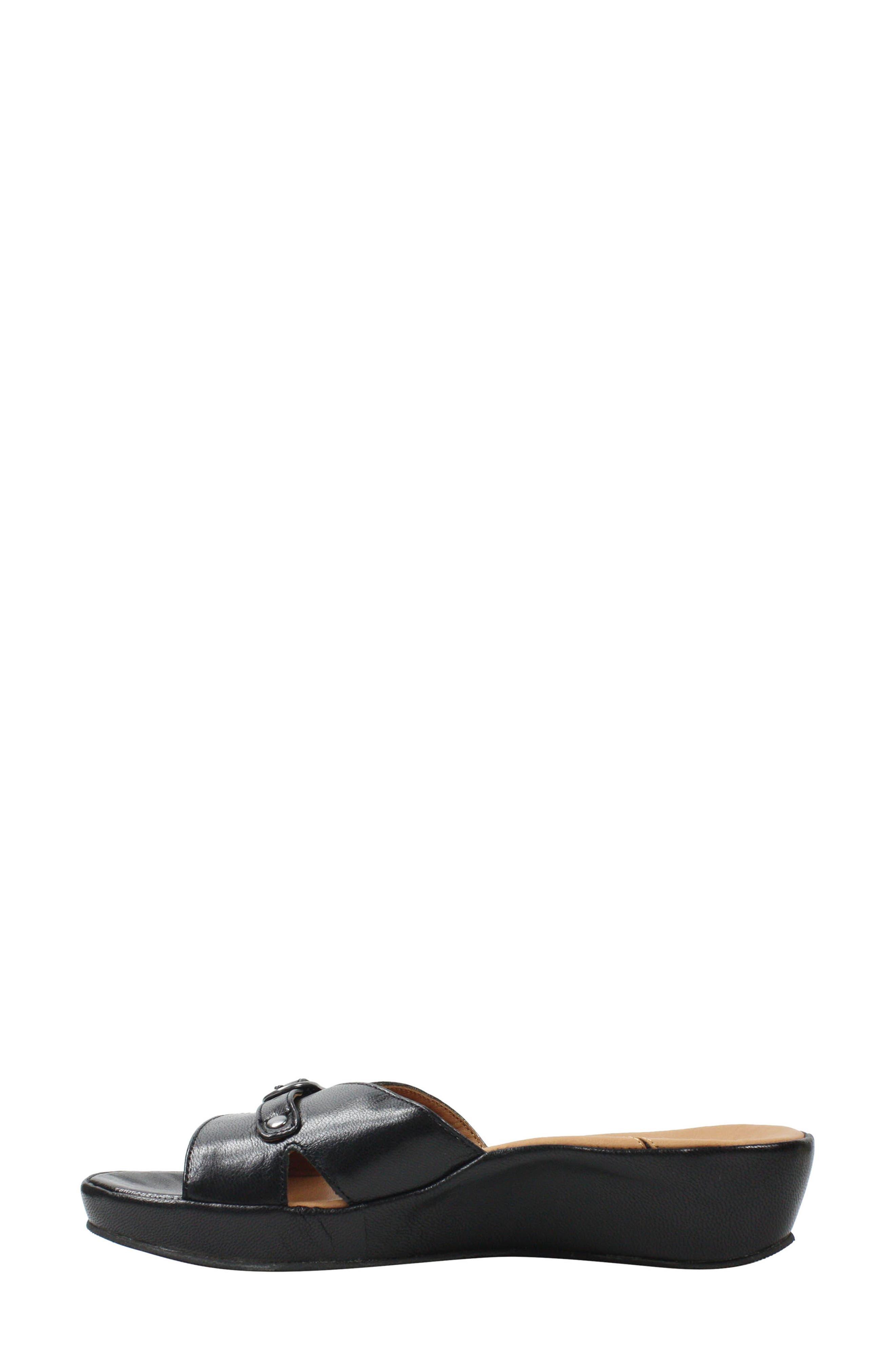 L'AMOUR DES PIEDS, Cheyne Slide Sandal, Alternate thumbnail 6, color, BLACK LEATHER