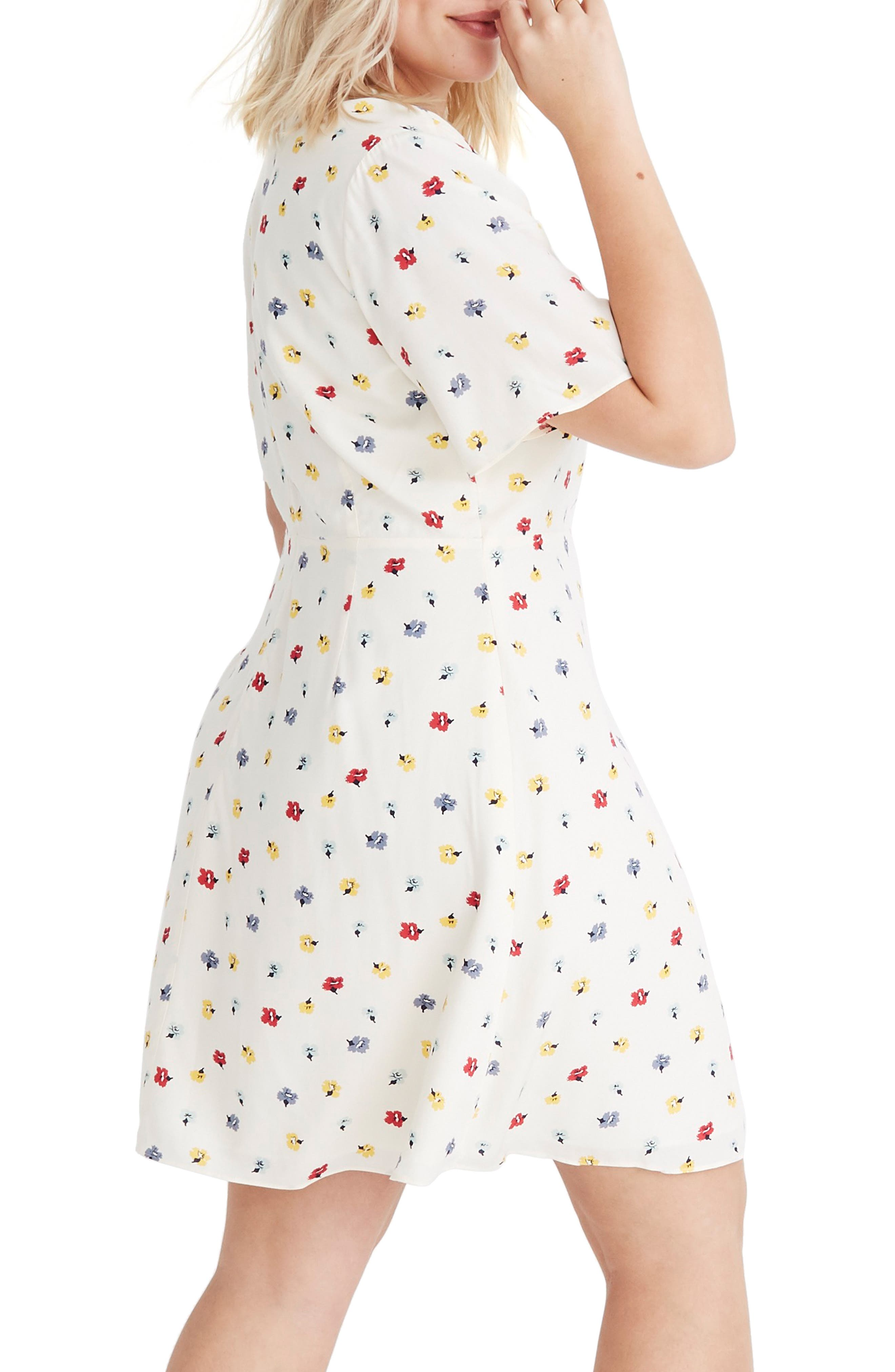 MADEWELL, Orchard Confetti Floral Flutter Sleeve Dress, Alternate thumbnail 2, color, 900