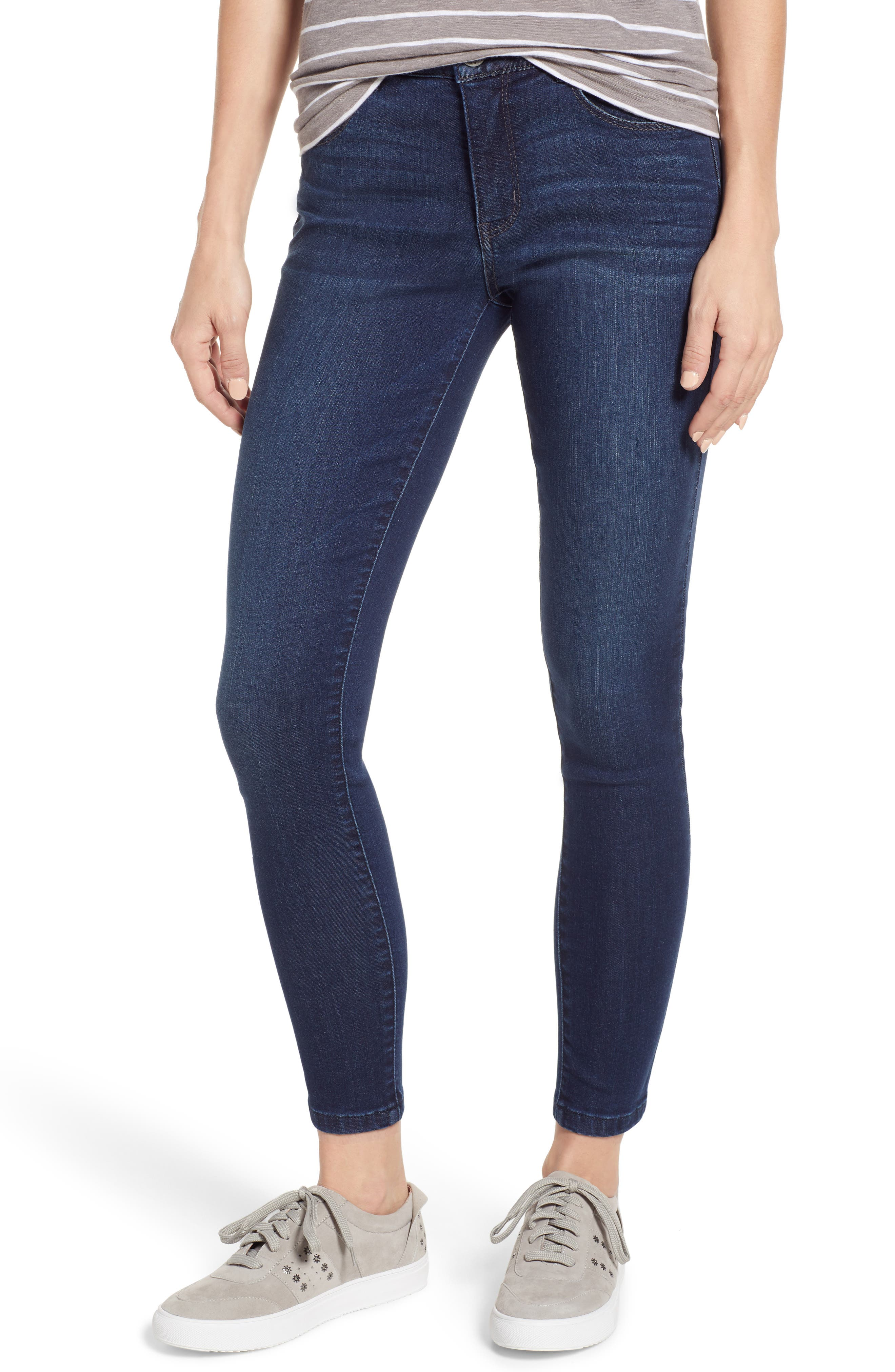 WIT & WISDOM, Ab-Solution High Rise Ankle Skinny Jeans, Main thumbnail 1, color, INDIGO