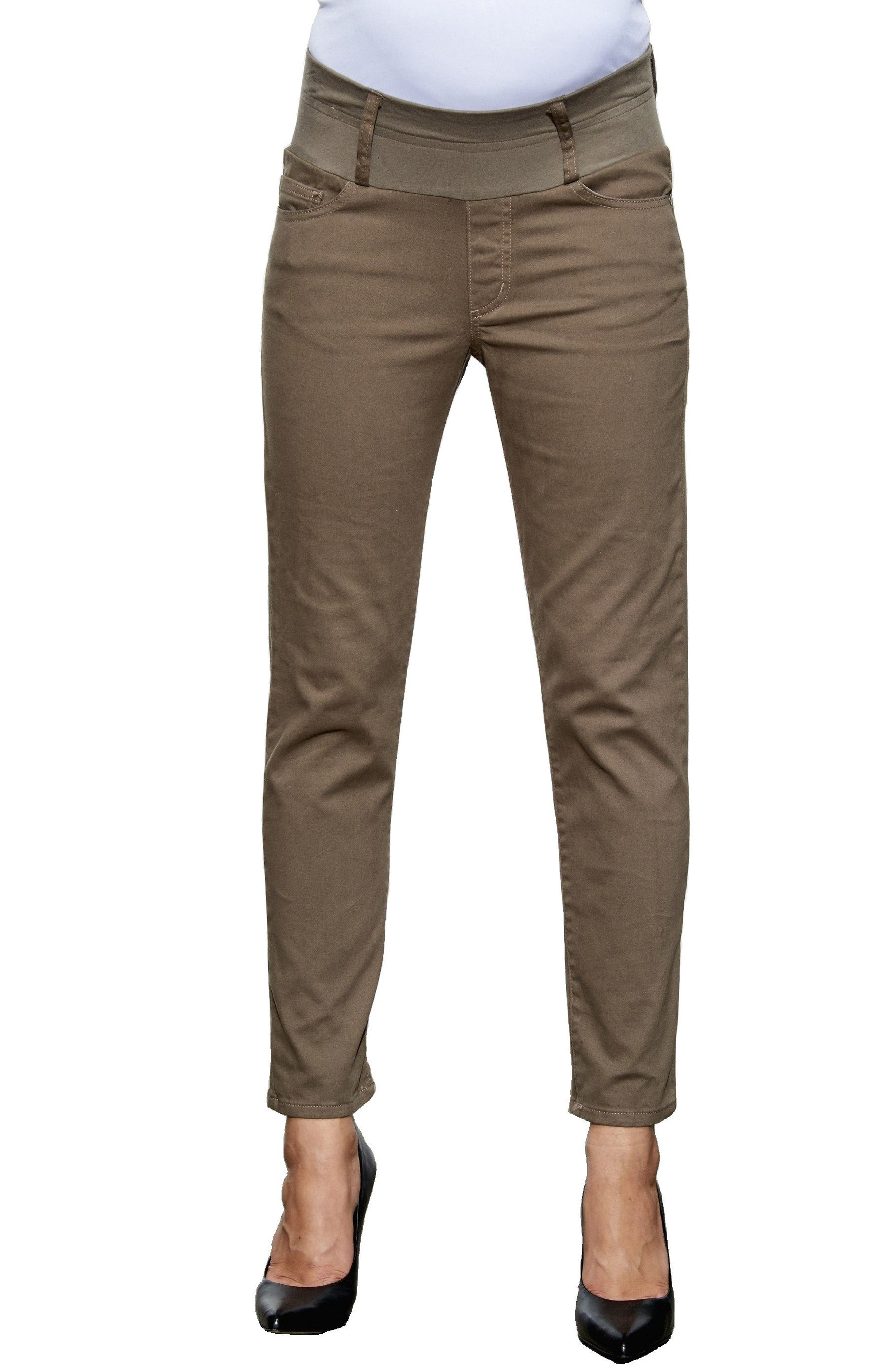 MATERNAL AMERICA, Maternity Skinny Ankle Stretch Jeans, Main thumbnail 1, color, TAUPE