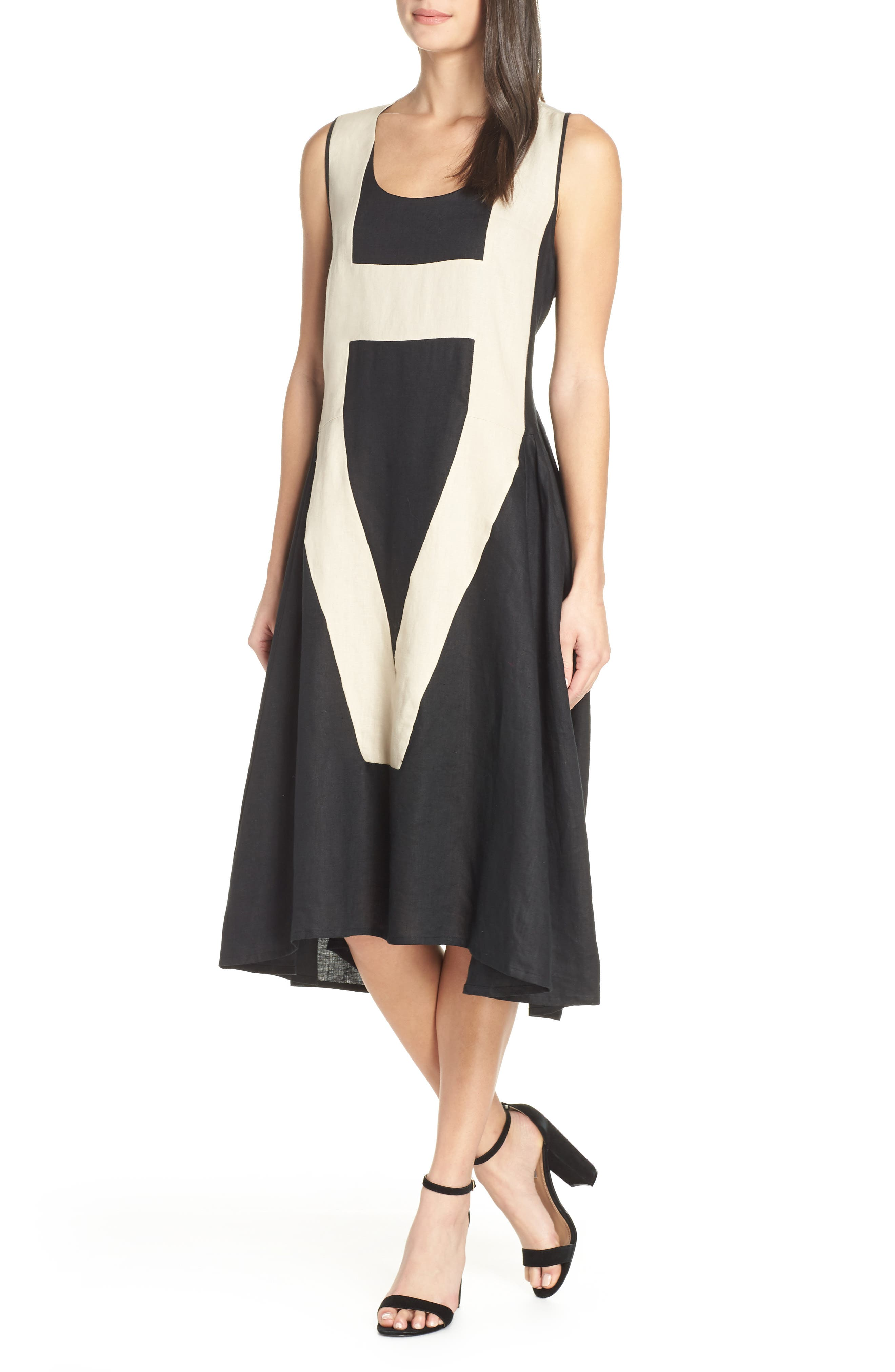 CAARA, Betha Colorblock Tie Back Dress, Main thumbnail 1, color, 001