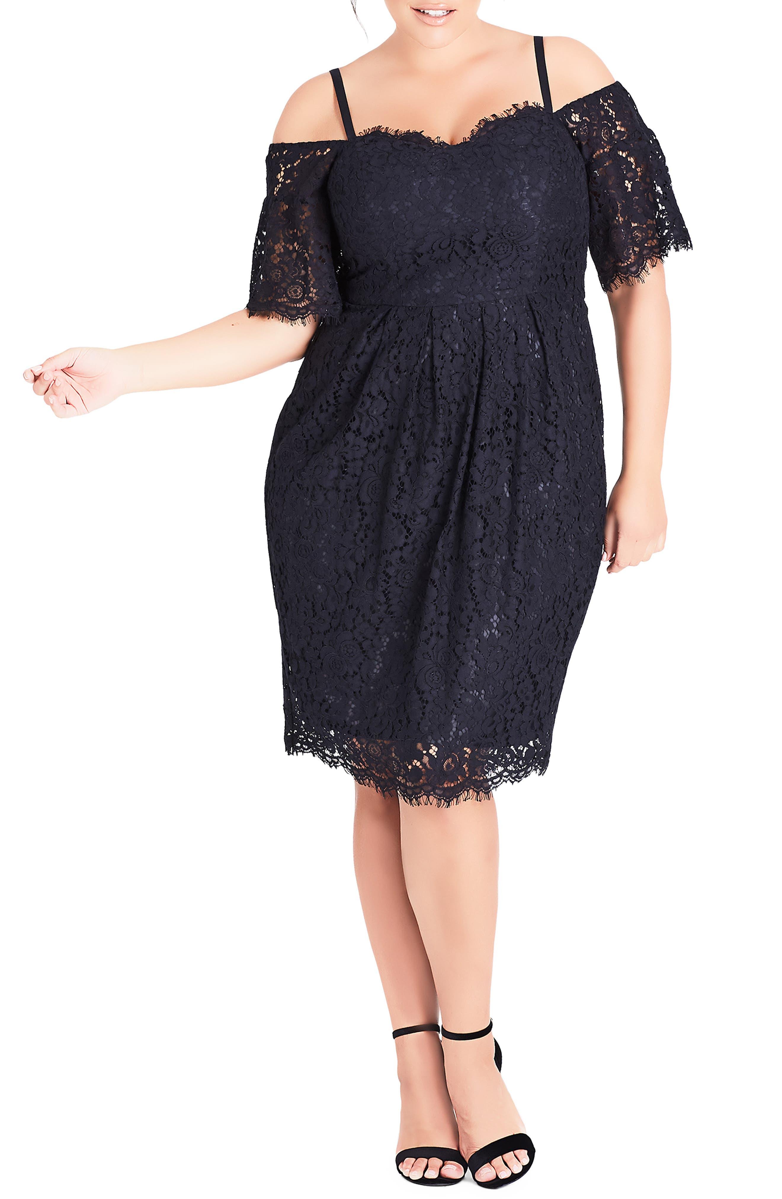 CITY CHIC, Amour Cold Shoulder Lace Sheath Dress, Main thumbnail 1, color, NAVY