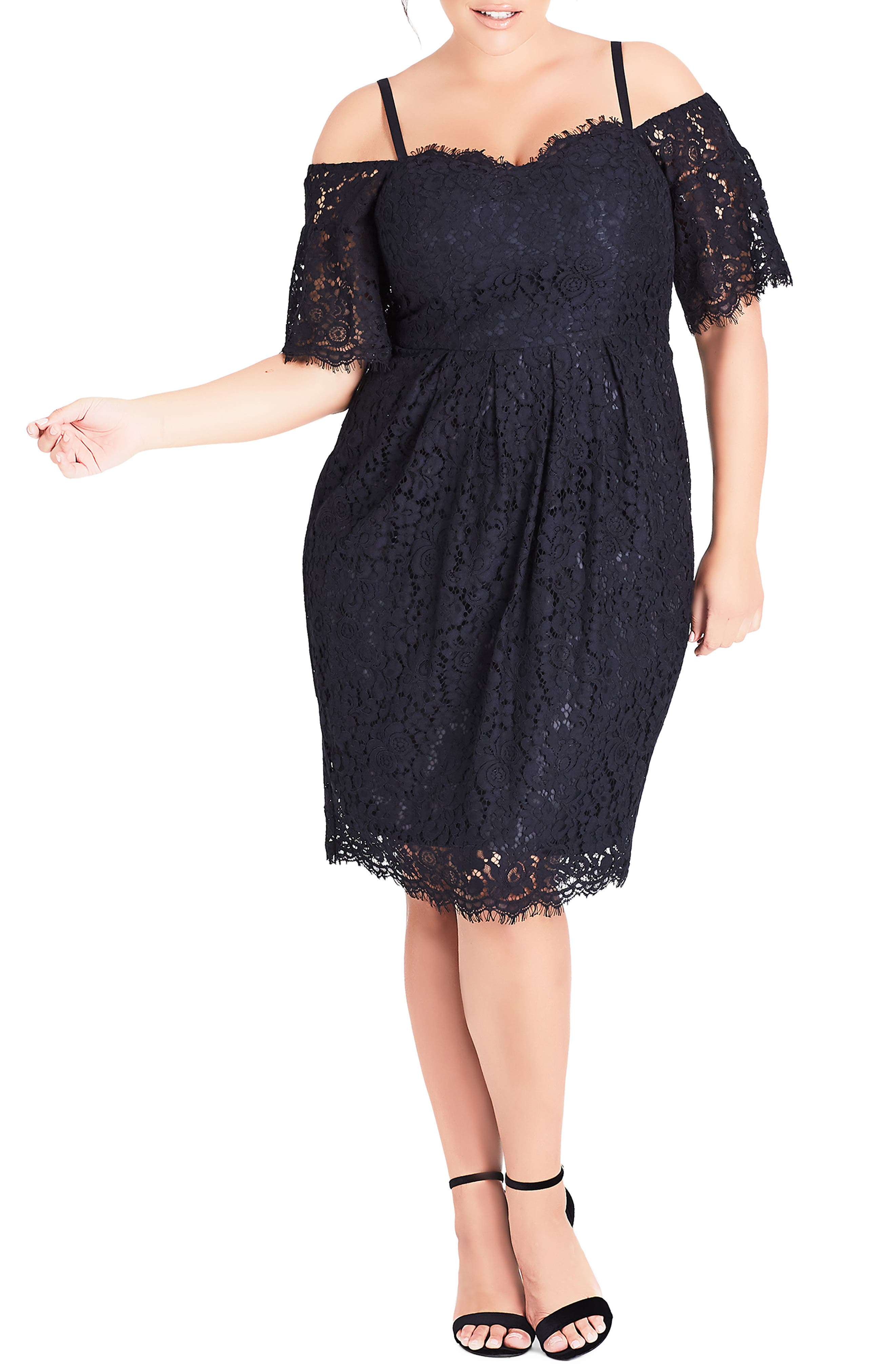 CITY CHIC Amour Cold Shoulder Lace Sheath Dress, Main, color, NAVY