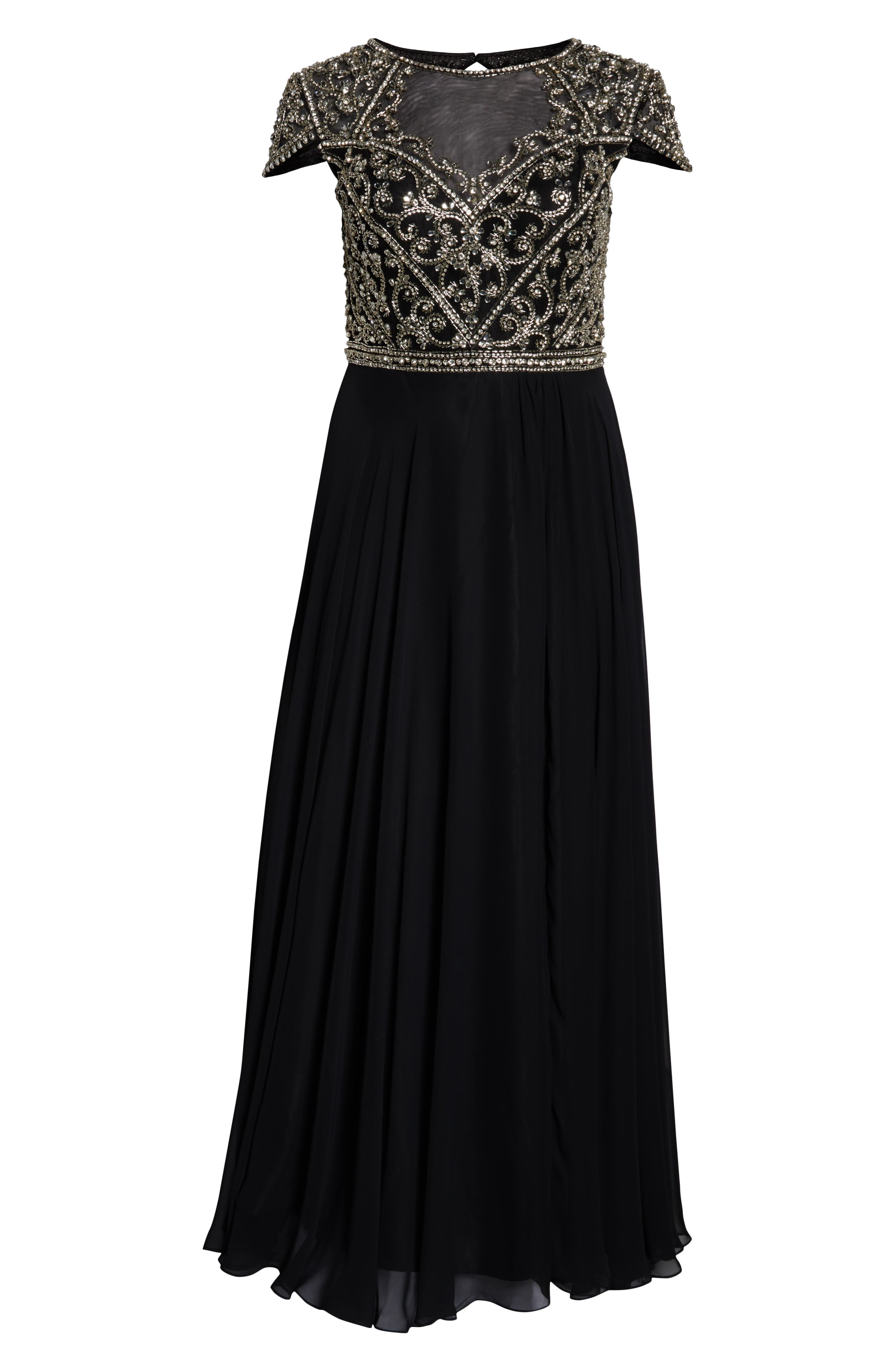 MAC DUGGAL, Embellished Bodice Evening Dress, Alternate thumbnail 7, color, BLACK