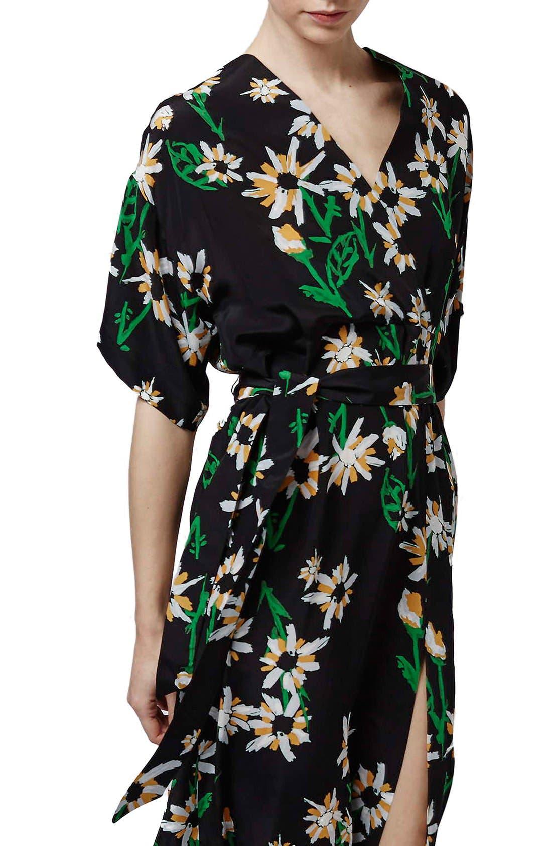 TOPSHOP BOUTIQUE, Daisy Print Silk Kimono Dress, Alternate thumbnail 6, color, 001
