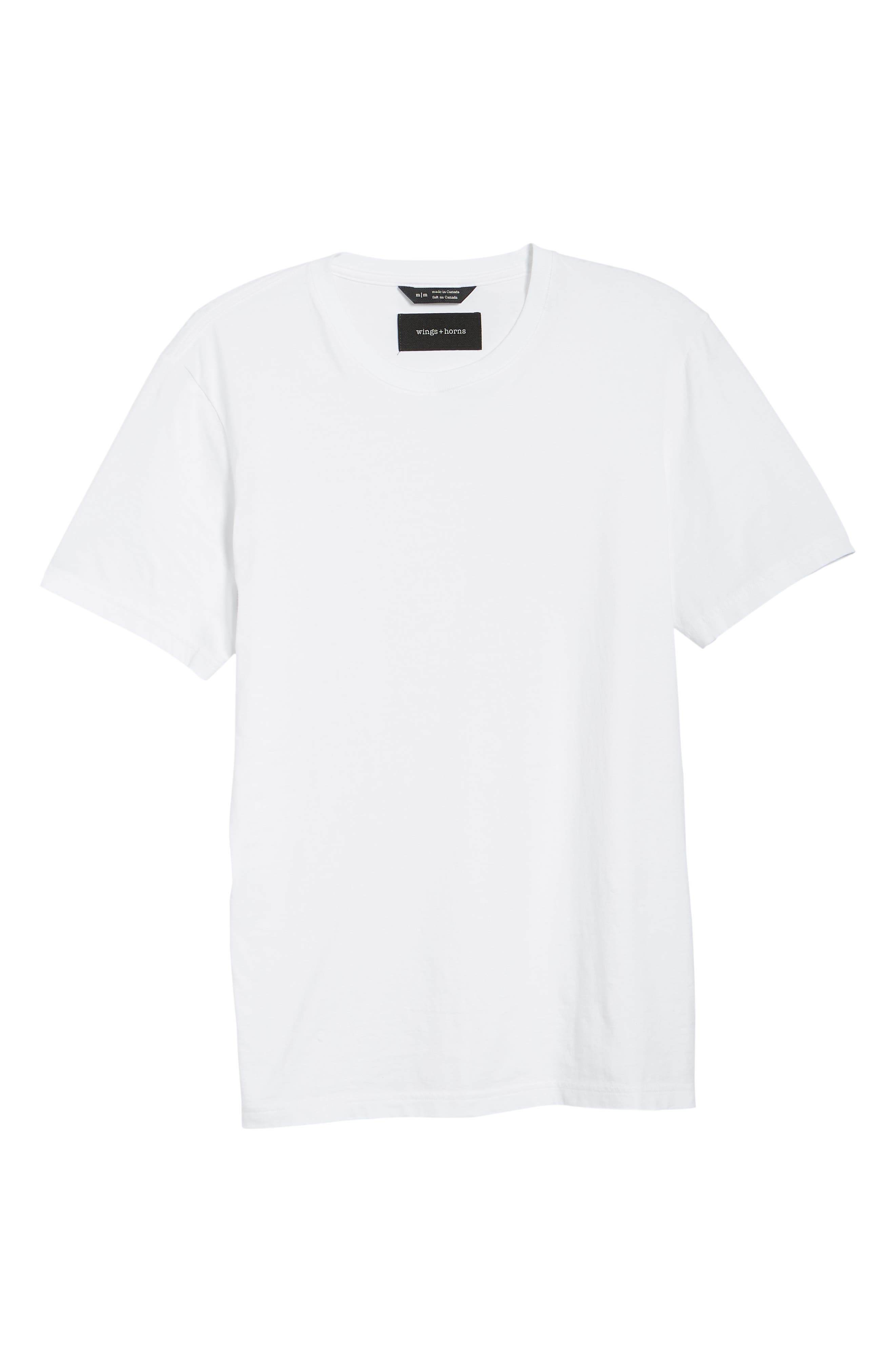 WINGS + HORNS, Short Sleeve Crewneck T-Shirt, Alternate thumbnail 6, color, WHITE