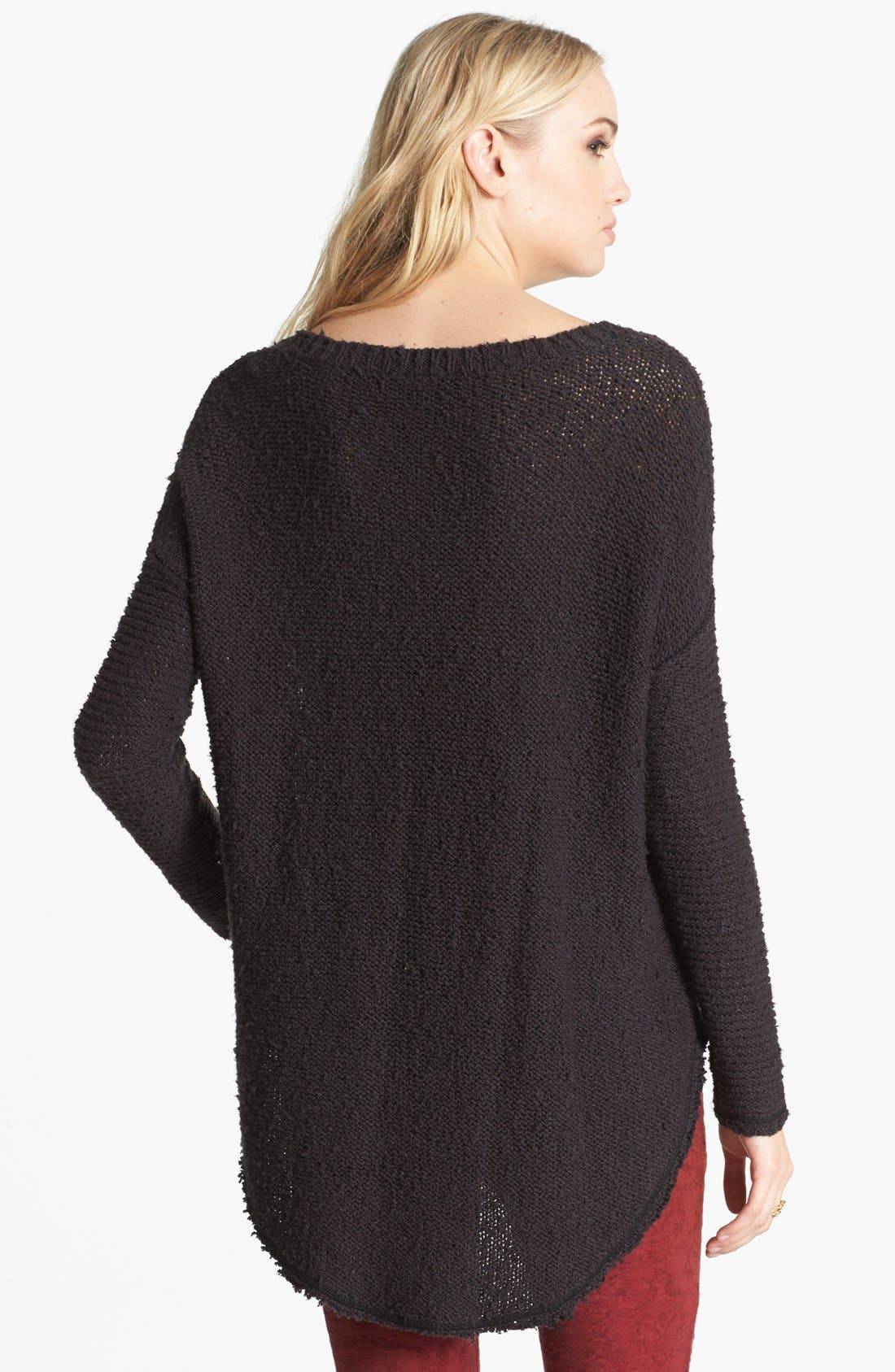 FREE PEOPLE, 'Cross My Heart' High/Low Sweater, Alternate thumbnail 3, color, 001