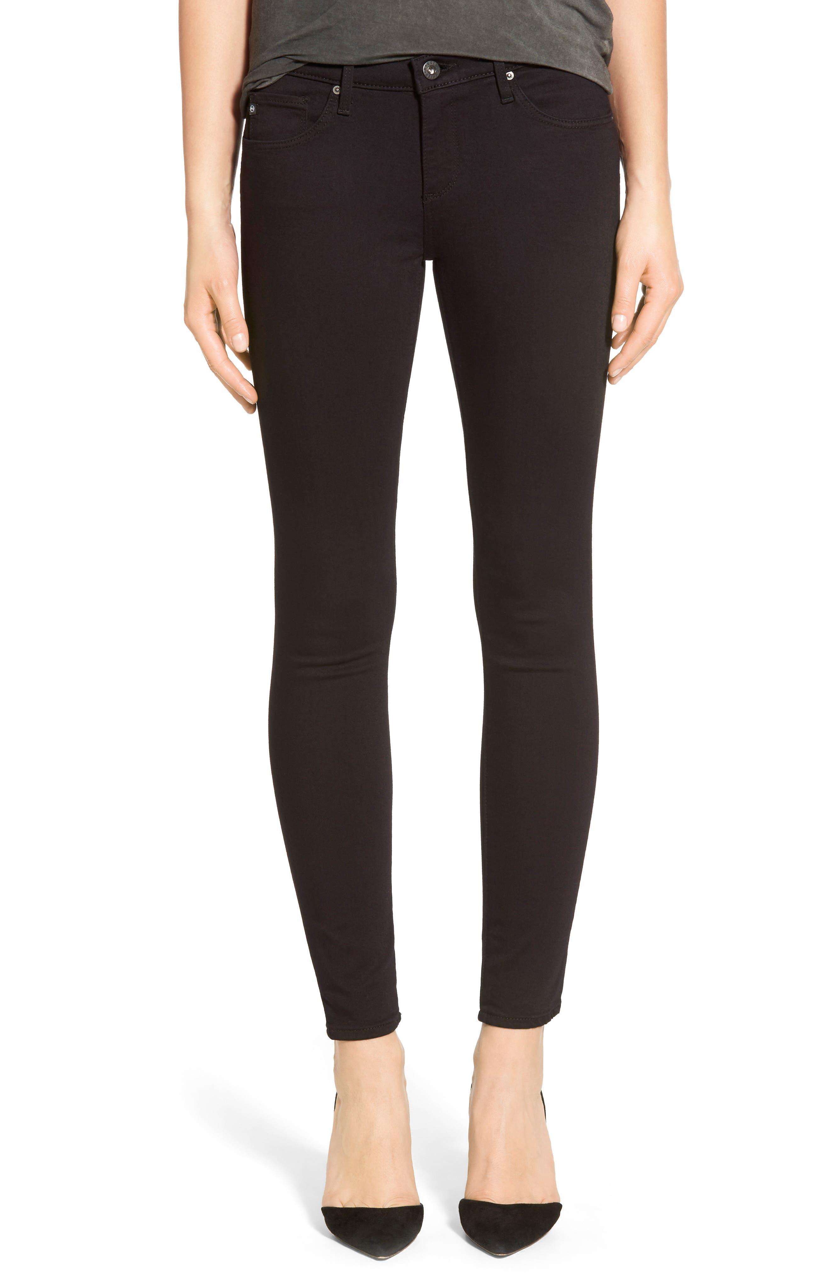 AG, 'The Legging' Ankle Super Skinny Jeans, Main thumbnail 1, color, SUPER BLACK
