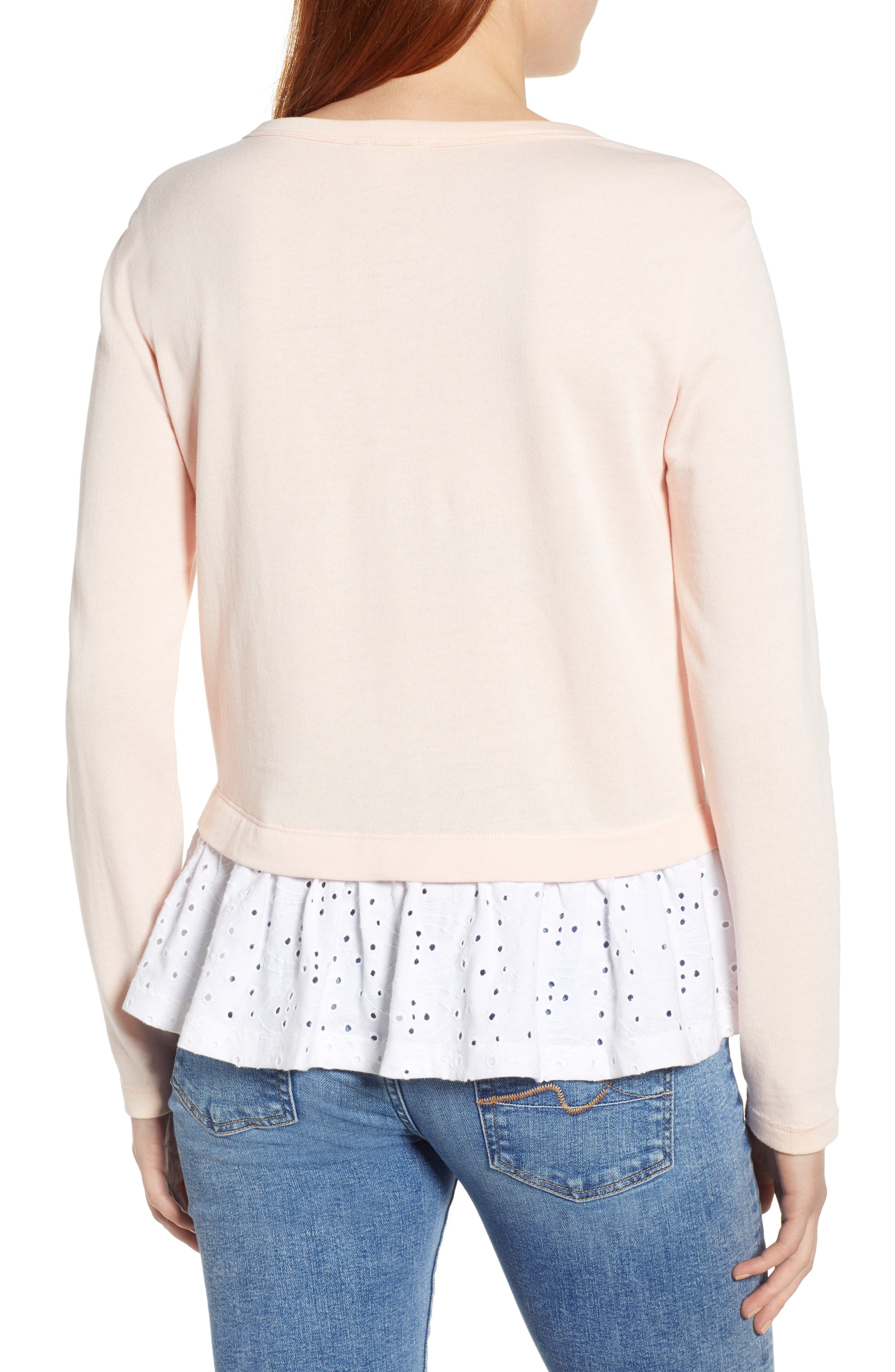 CASLON<SUP>®</SUP>, Eyelet Peplum Sweatshirt, Alternate thumbnail 2, color, PINK- WHITE