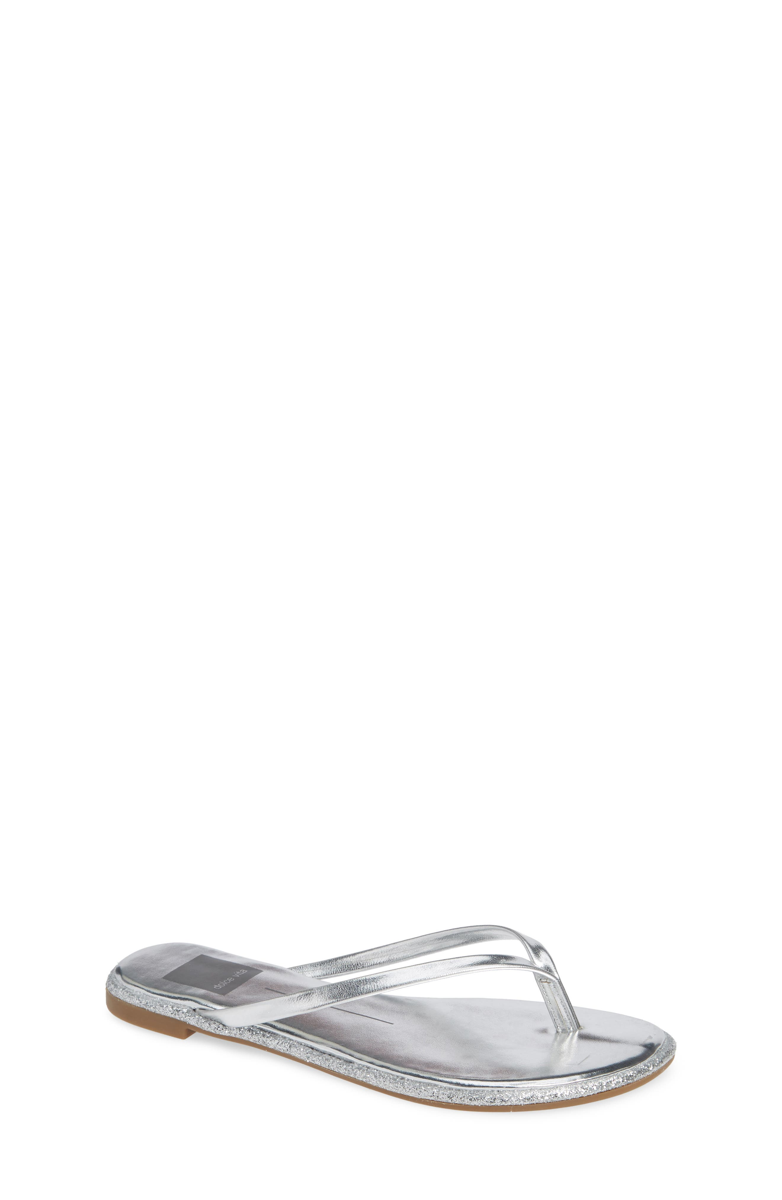 DOLCE VITA Daisy Sparkle Flip Flop, Main, color, SILVER