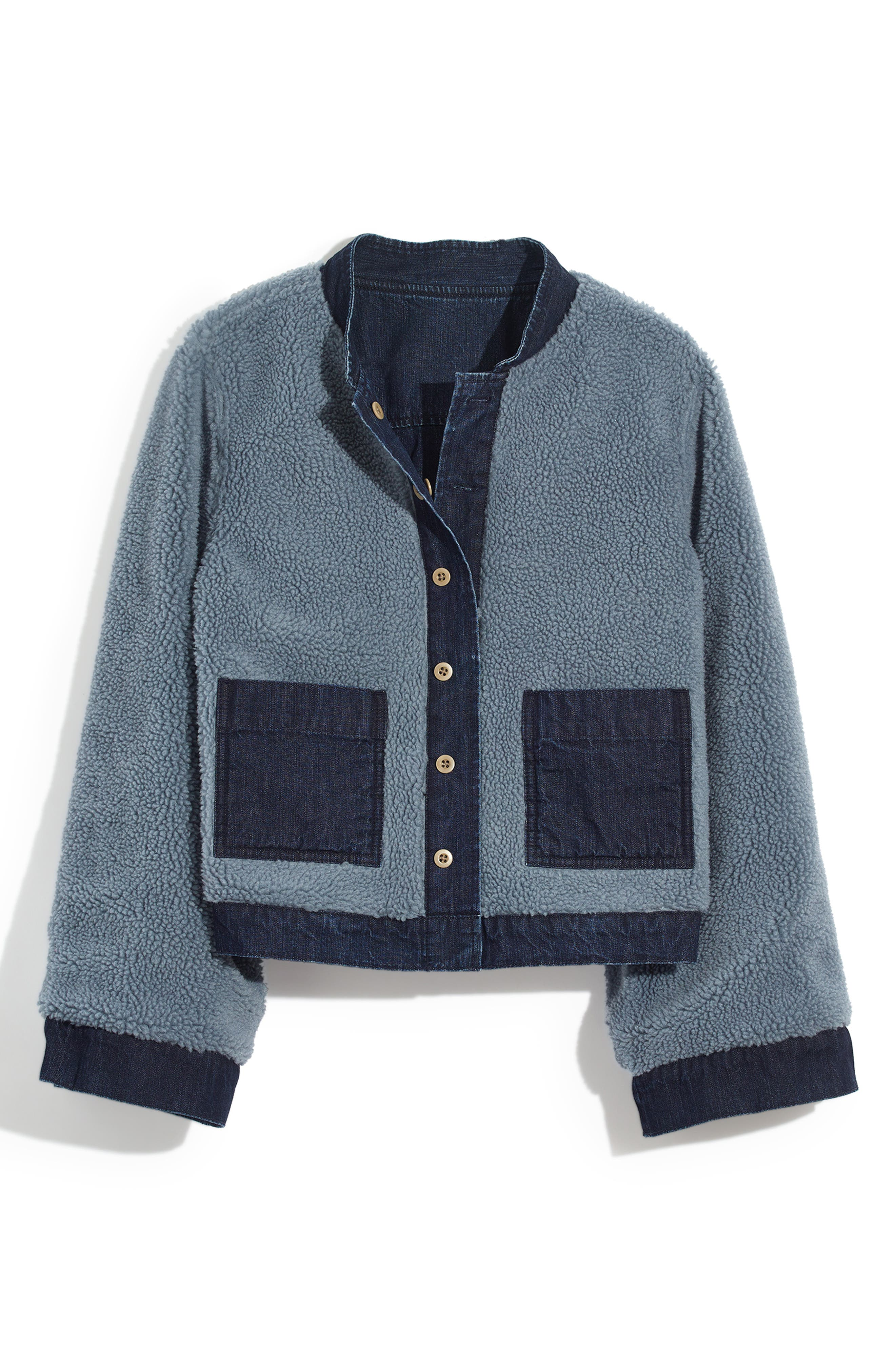 MADEWELL, Reversible Fleece Jean Jacket, Alternate thumbnail 6, color, 400