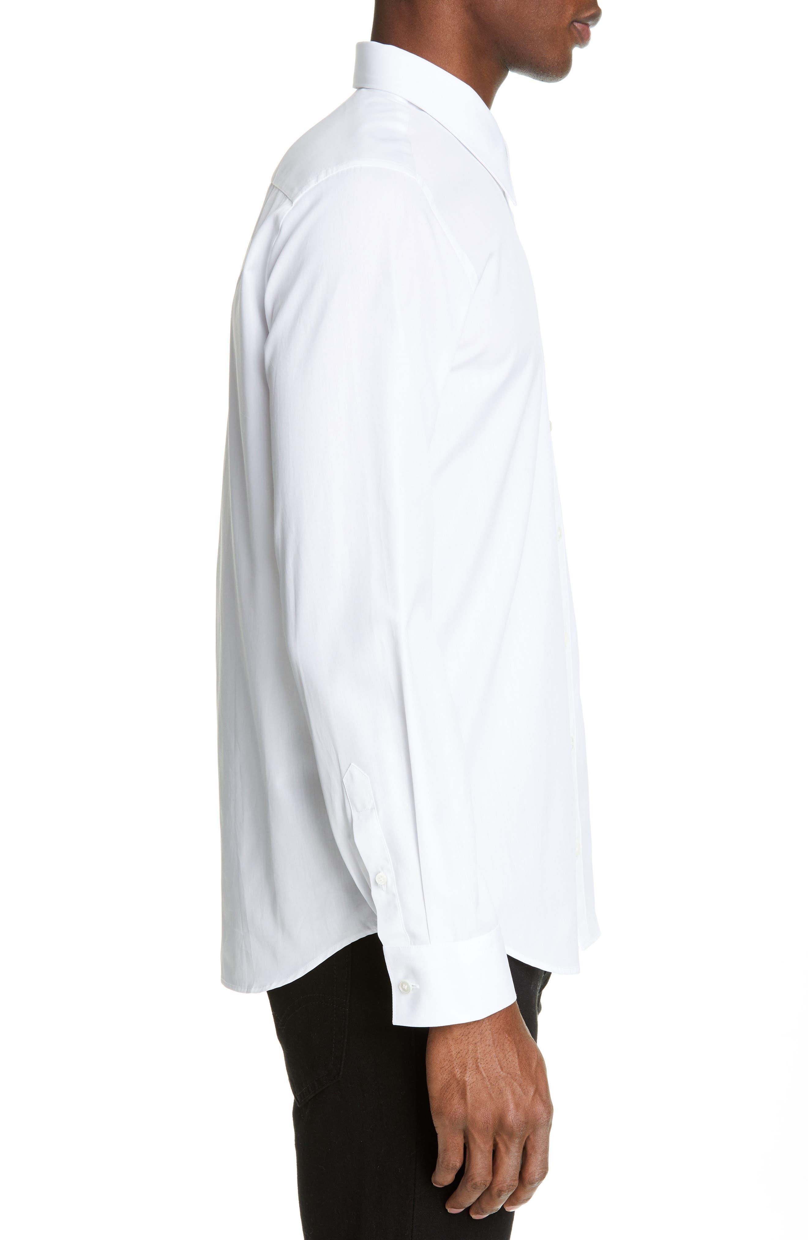 HELMUT LANG, Logo Print Dress Shirt, Alternate thumbnail 4, color, WHITE/SILVER
