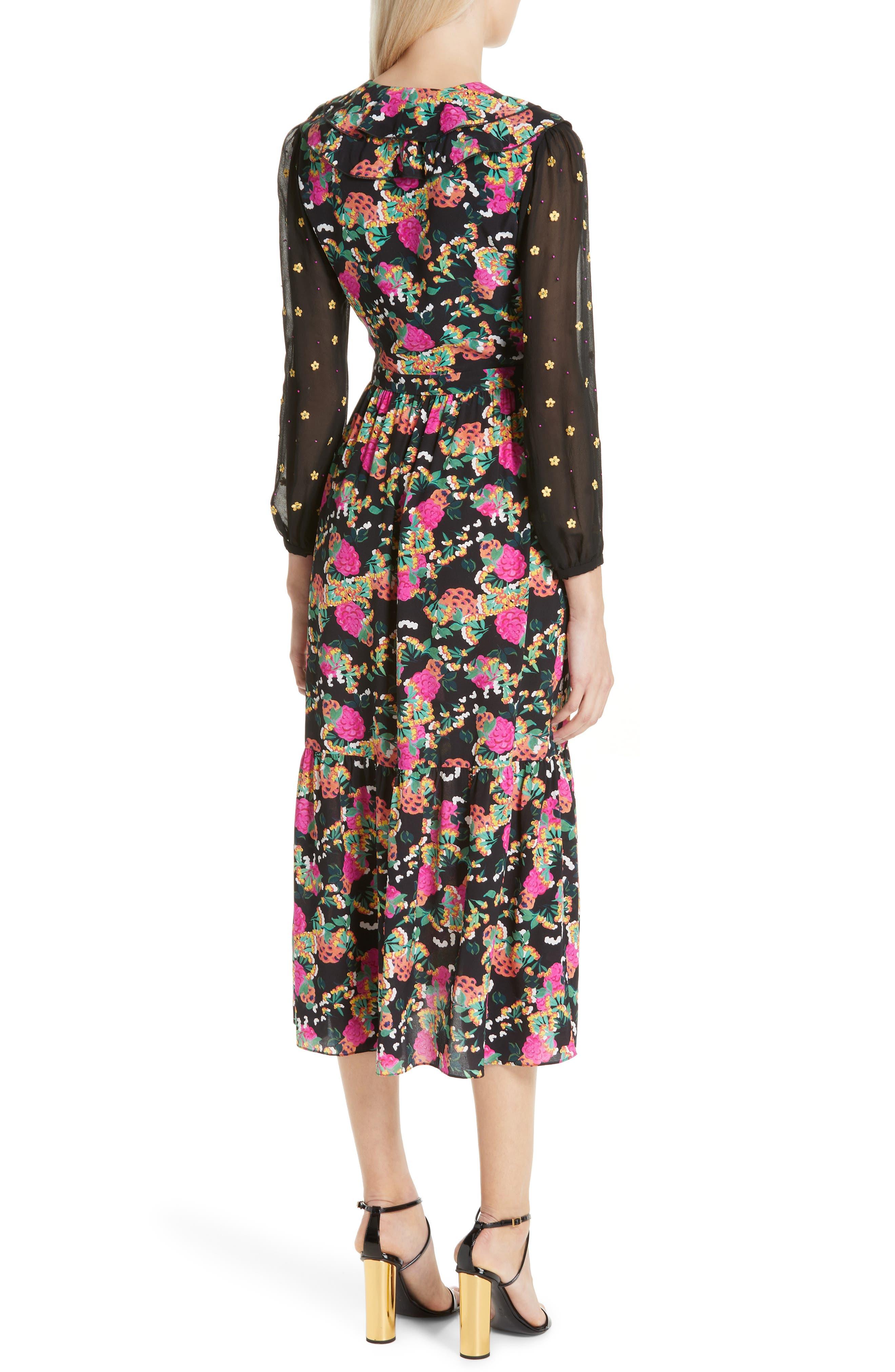 SALONI, Ginny Silk Midi Dress, Alternate thumbnail 2, color, HYDRANGEA/ EMBELLISHMENT