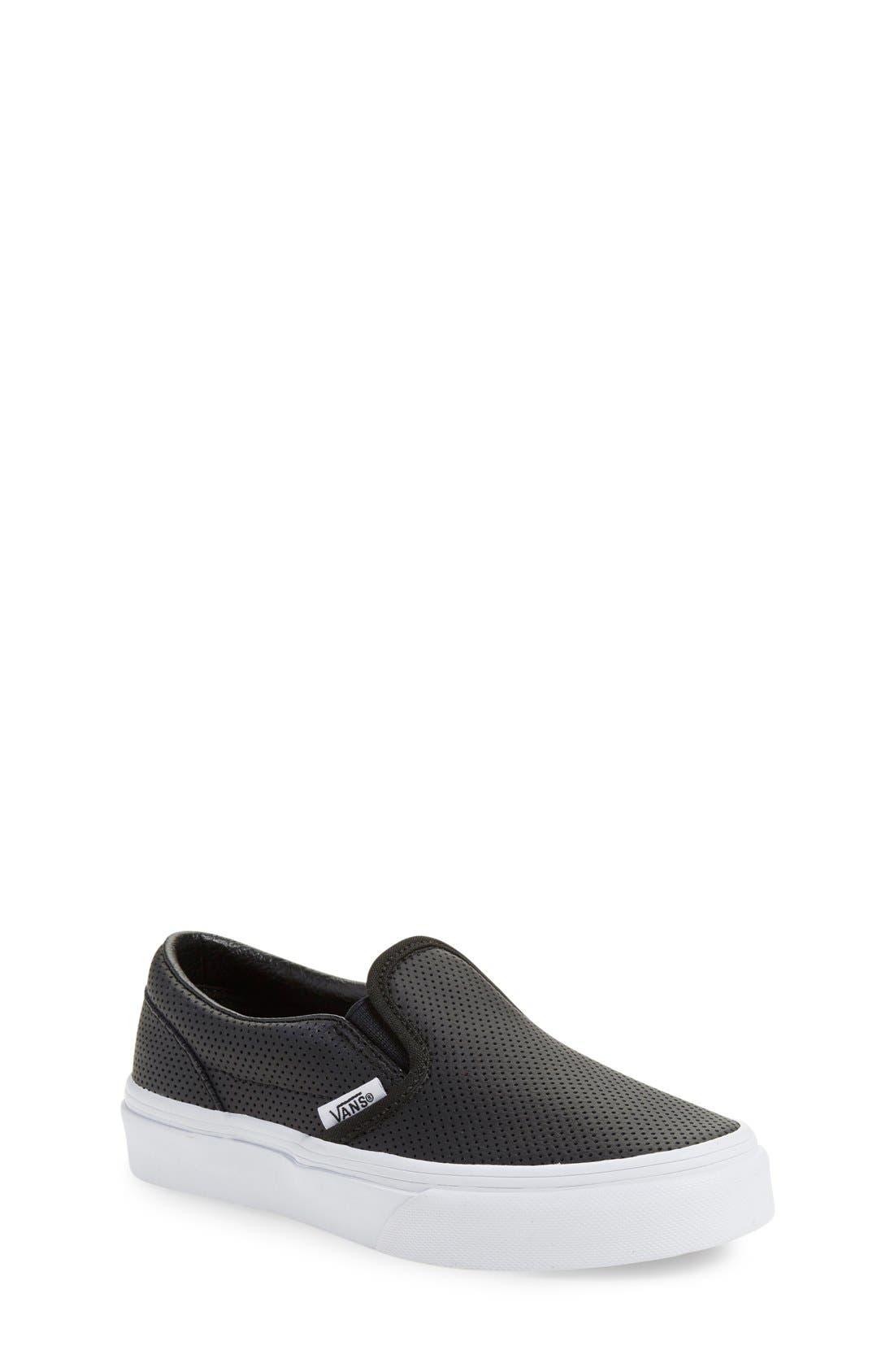 VANS, 'Classic' Slip-On Sneaker, Main thumbnail 1, color, BLACK LEATHER