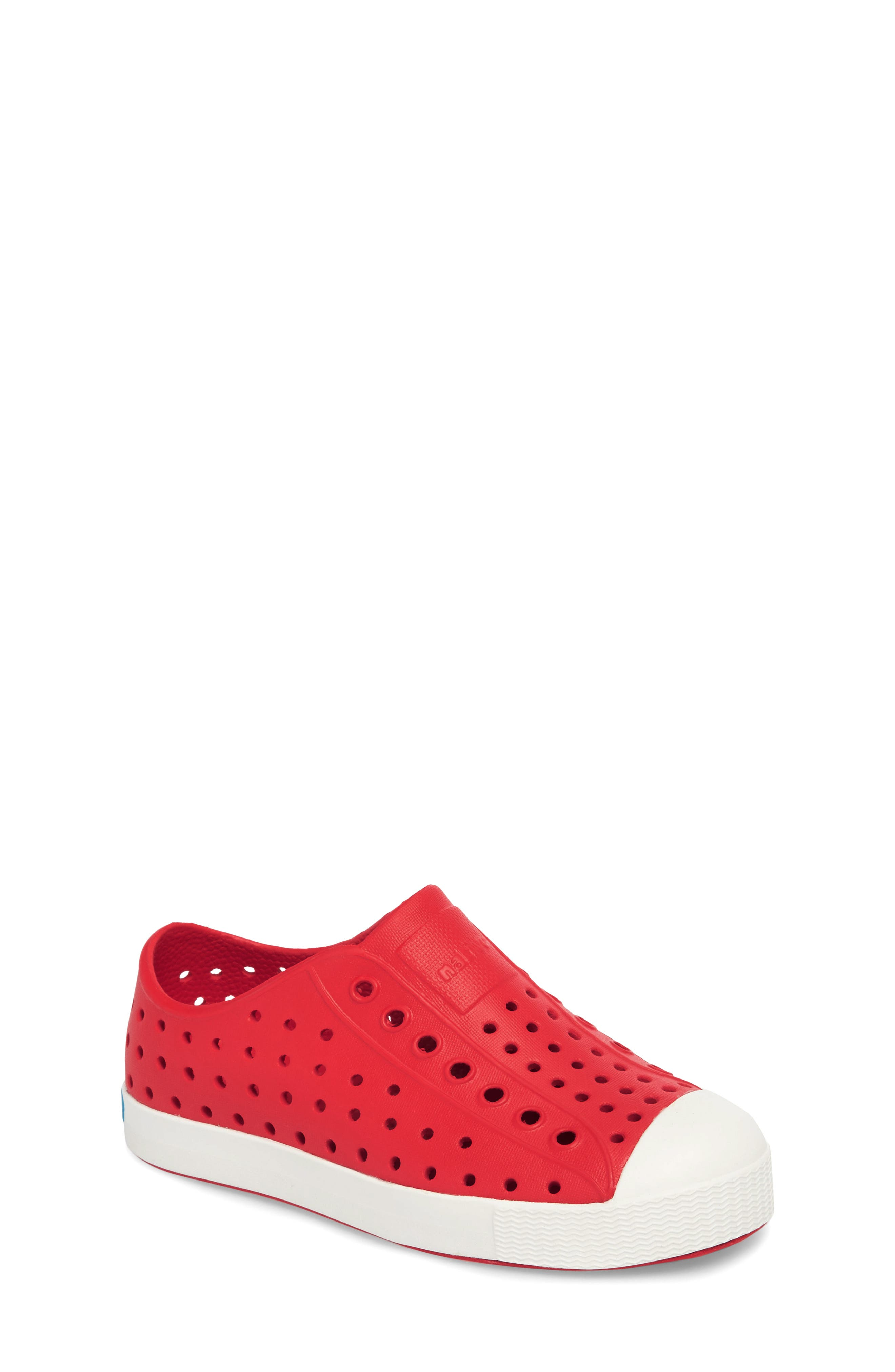 NATIVE SHOES, Jefferson Water Friendly Slip-On Vegan Sneaker, Main thumbnail 1, color, TORCH RED/ SHELL WHITE