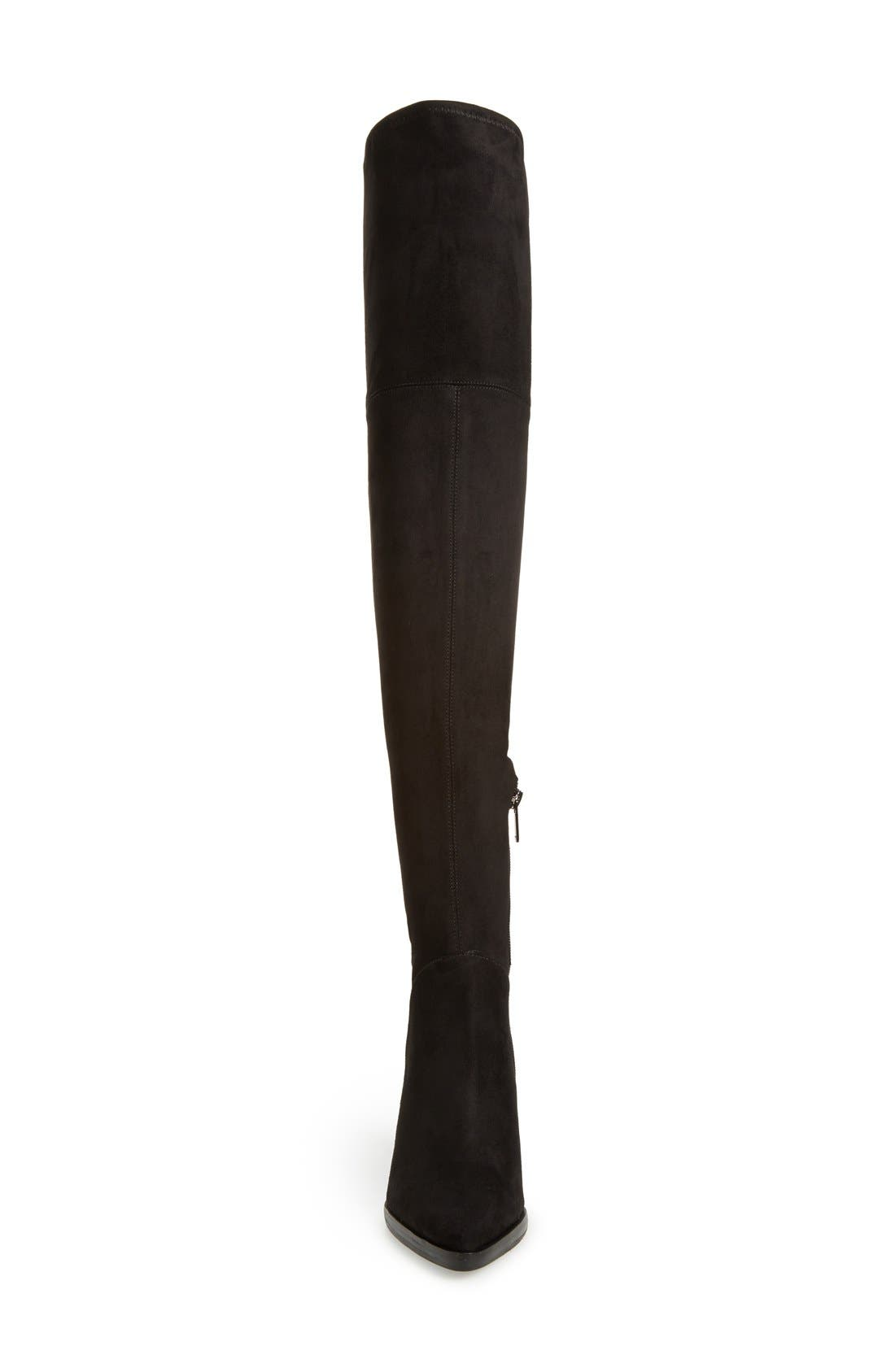 MARC FISHER LTD, Alinda Over the Knee Boot, Alternate thumbnail 4, color, BLACK STRETCH FABRIC