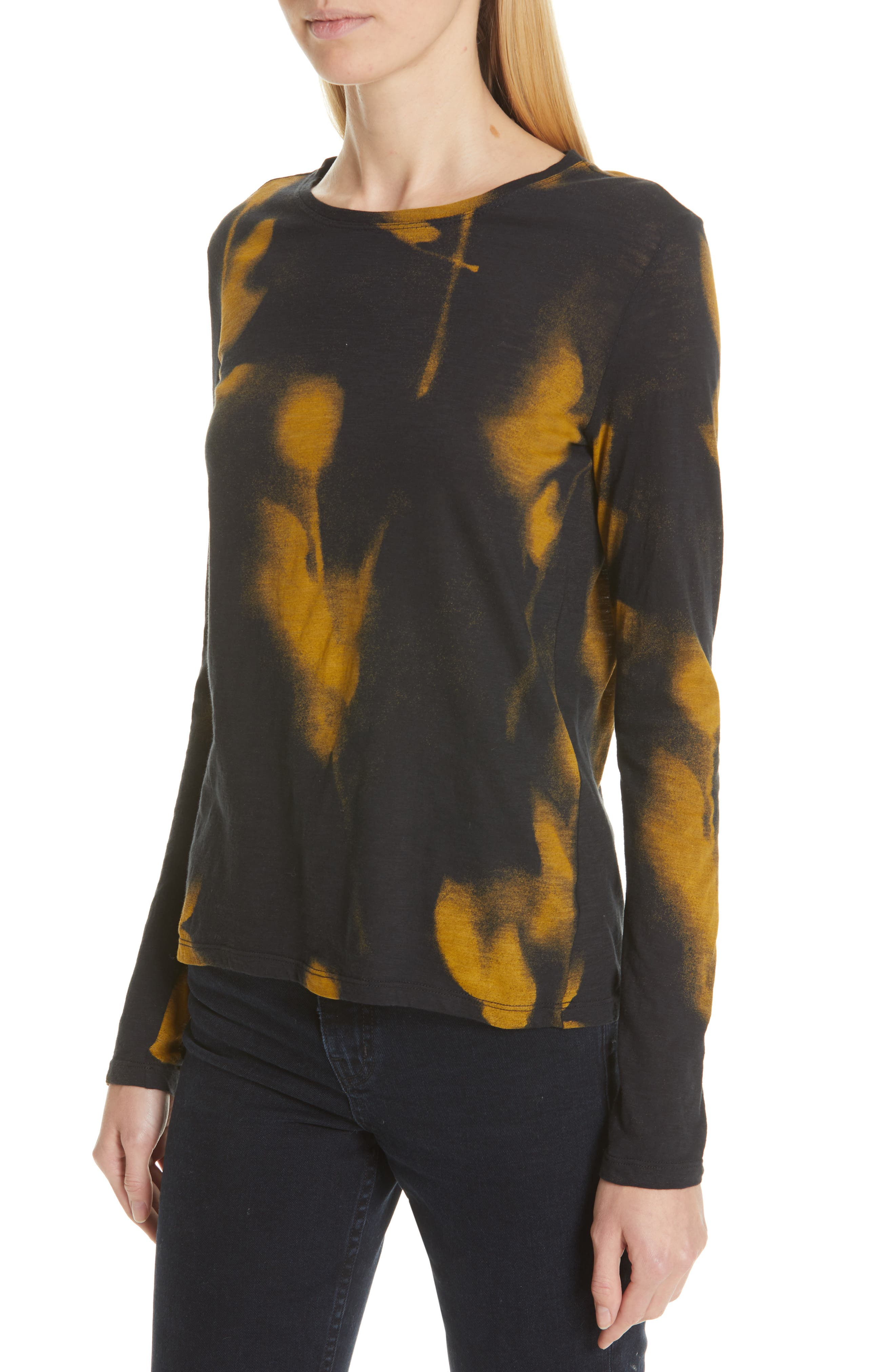 PROENZA SCHOULER, Print Jersey Tee, Alternate thumbnail 4, color, YELLOW/ BLACK ROSE PRINT