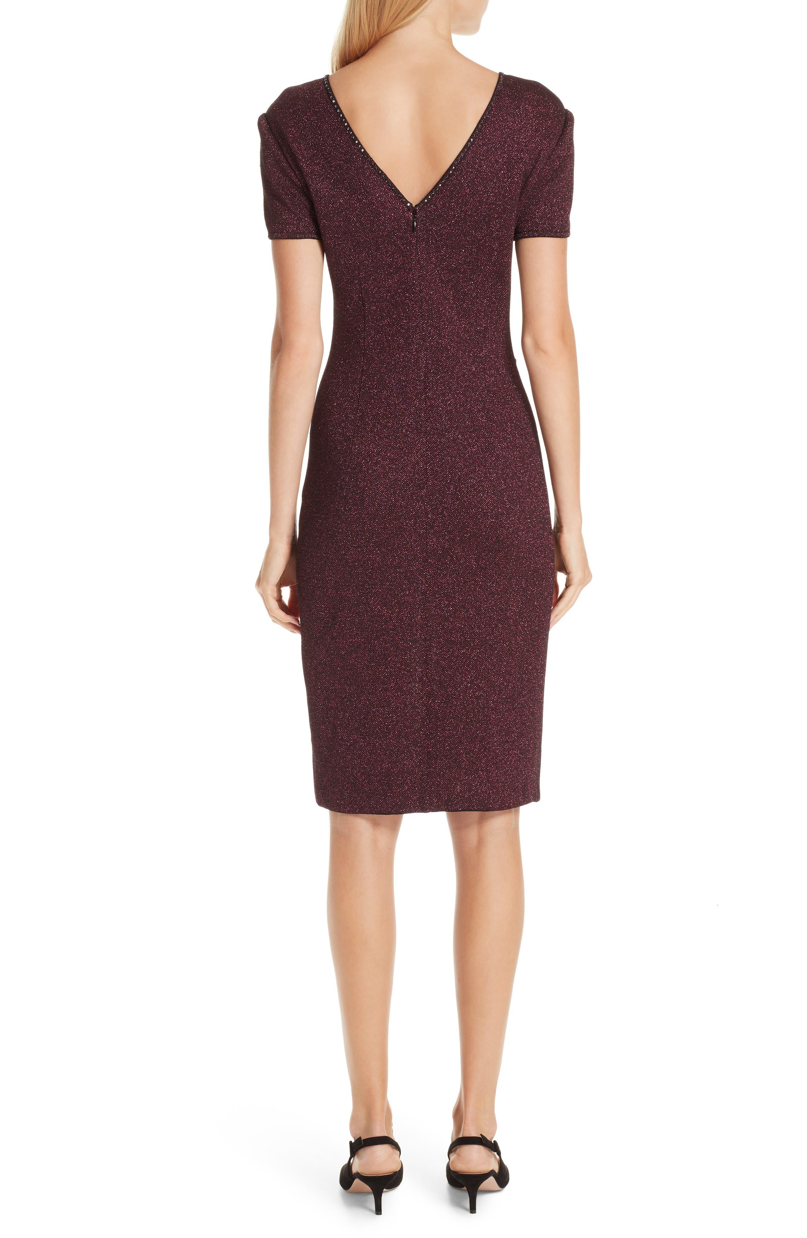 ST. JOHN COLLECTION, Mod Metallic Knit Sheath Dress, Alternate thumbnail 2, color, DARK PINK MULTI