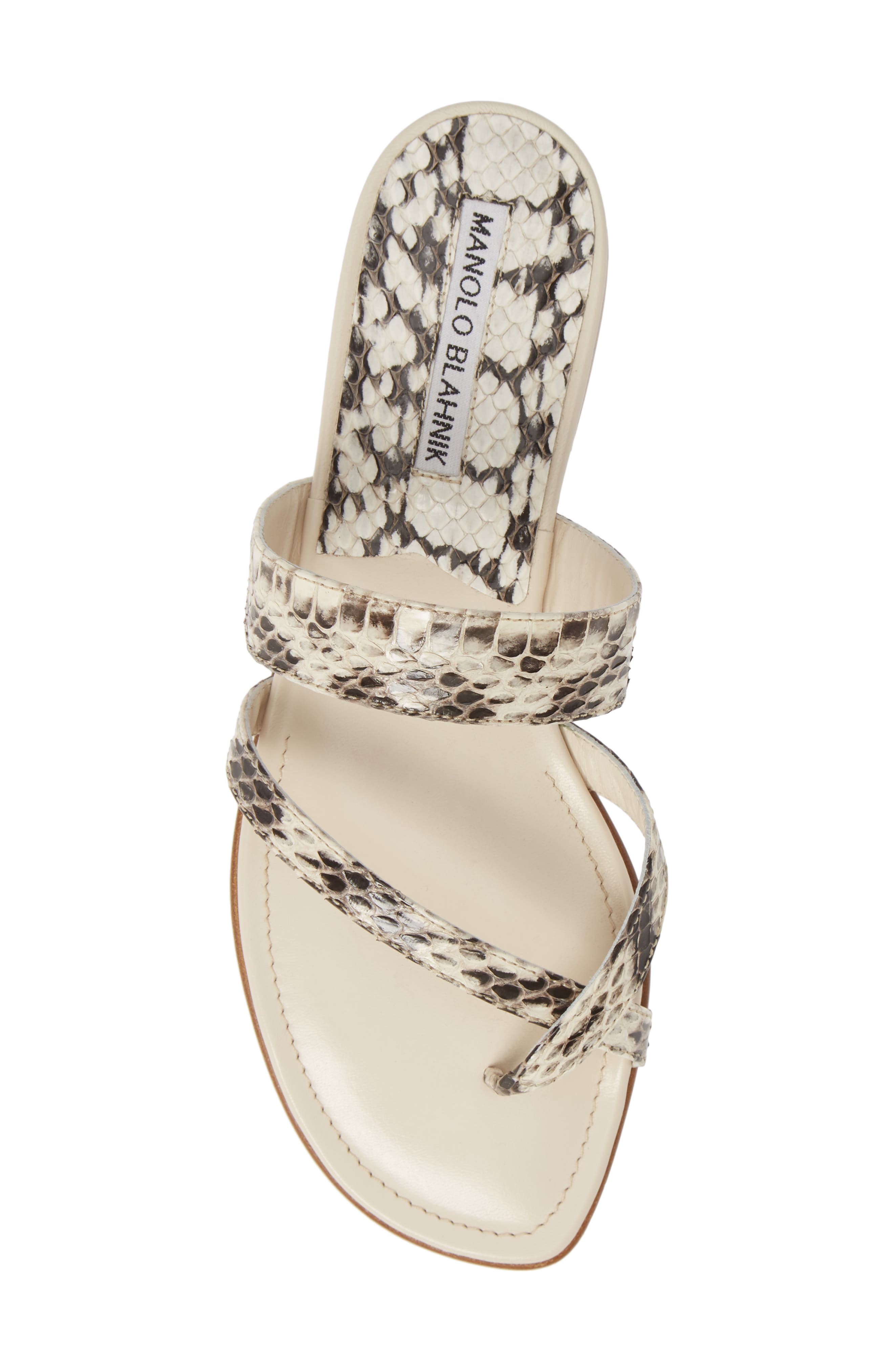 MANOLO BLAHNIK, 'Susa' Genuine Snakeskin Sandal, Alternate thumbnail 5, color, ROCCIA