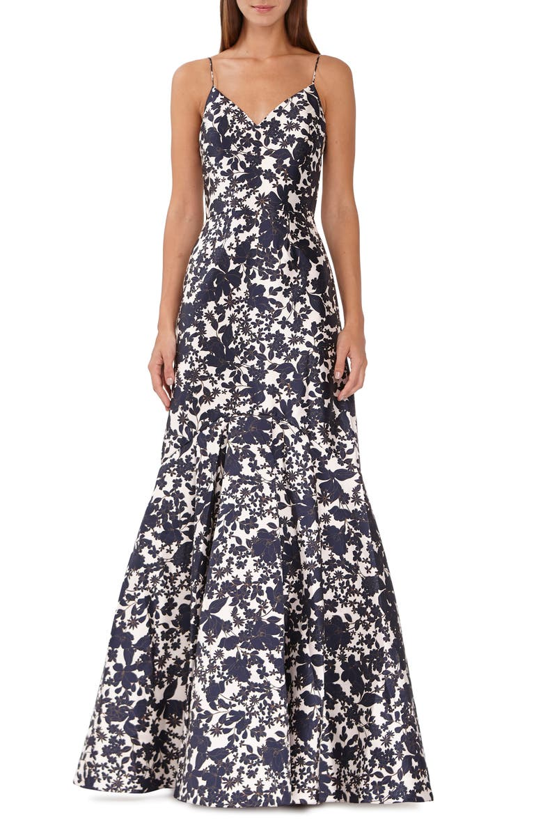 Ml Monique Lhuillier Dresses FLORAL PRINT MIKADO DRESS