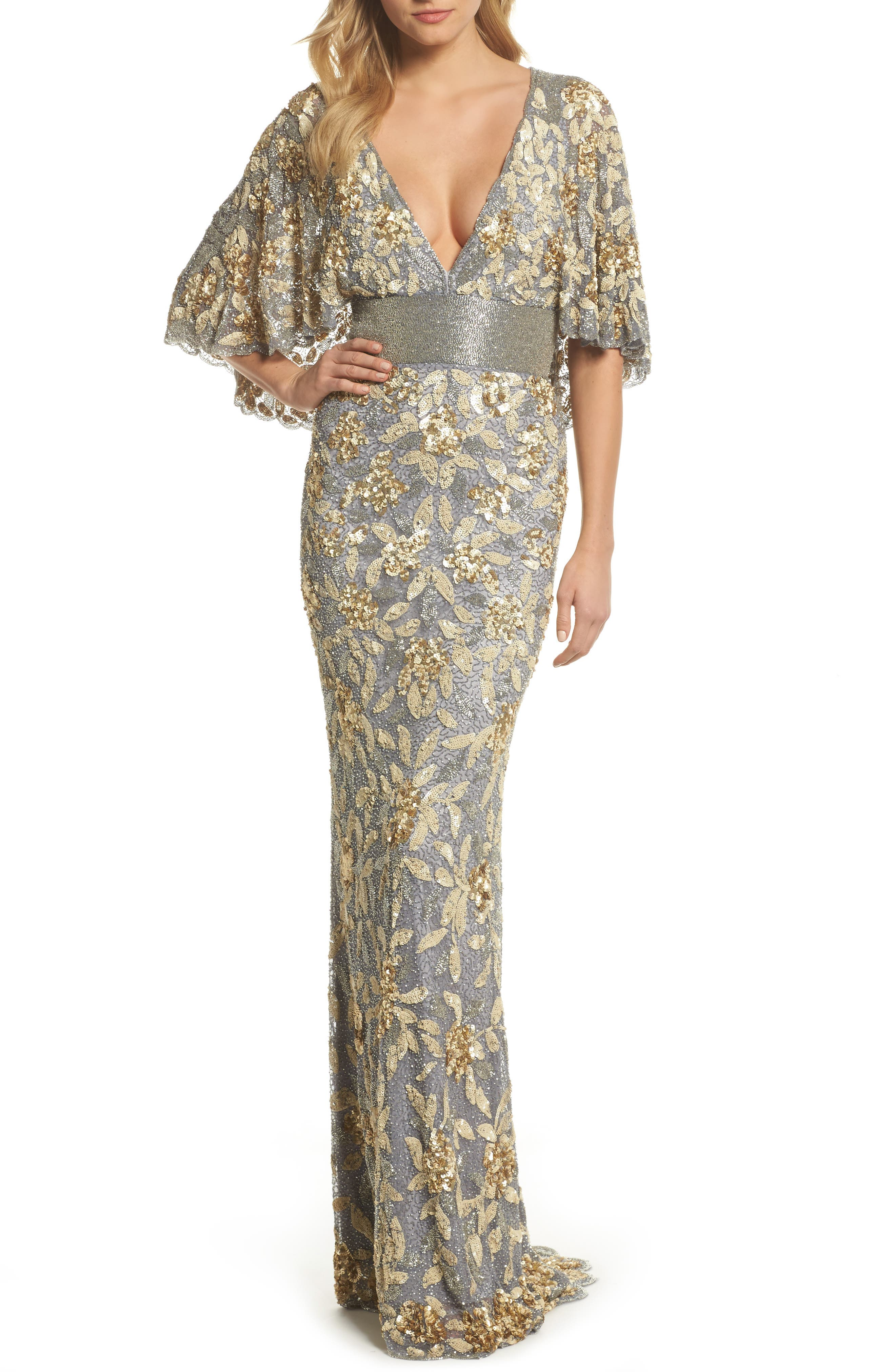 MAC DUGGAL, Sequin & Bead Embellished Gown, Main thumbnail 1, color, PLATINUM/ GOLD