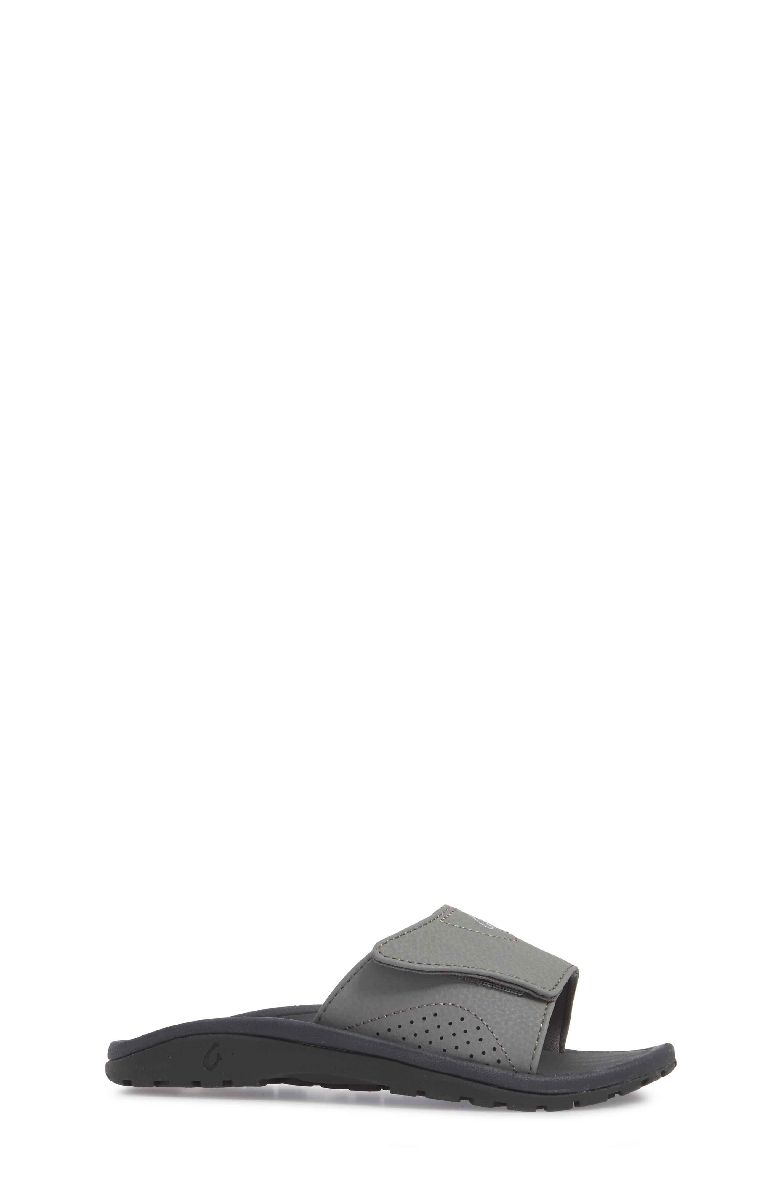 OLUKAI, Nalu Slide Sandal, Alternate thumbnail 3, color, CHARCOAL/ LAVA ROCK