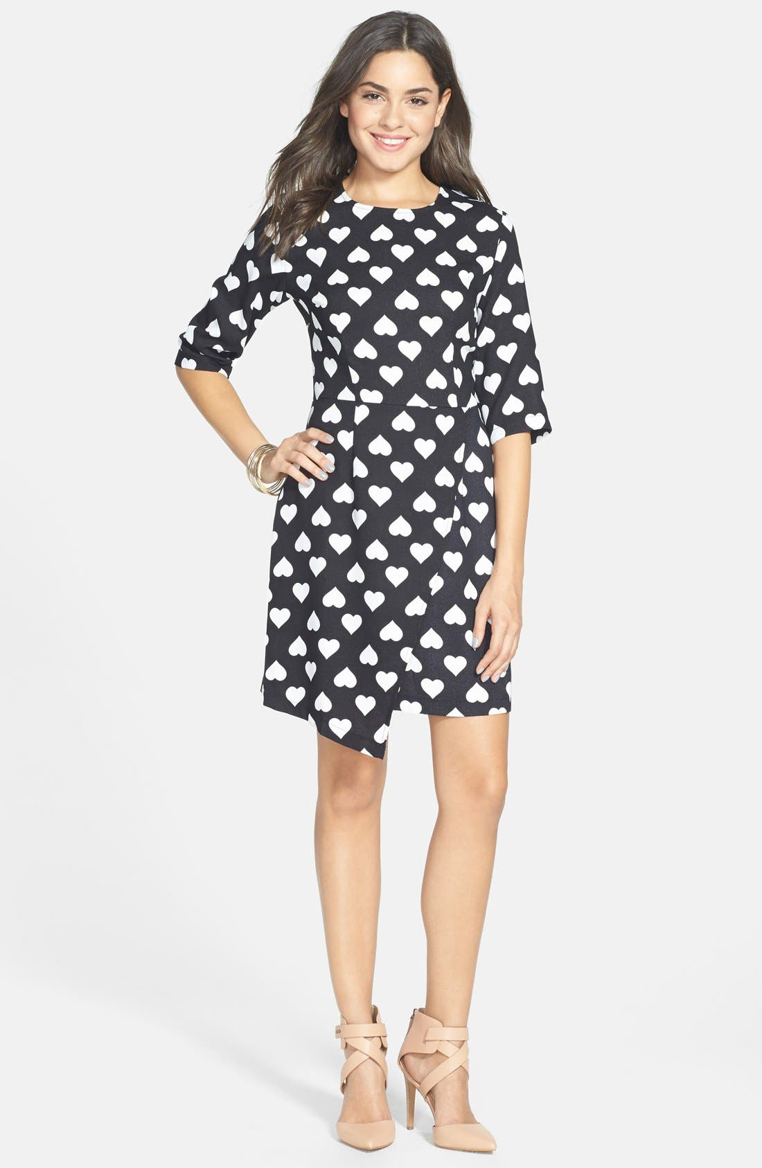 POPPY LUX 'Nancy' Heart Print Asymmetrical Dress, Main, color, 001