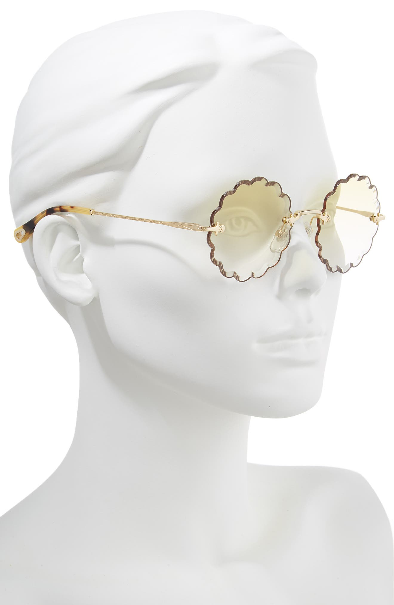 CHLOÉ, Rosie 53mm Scalloped Sunglasses, Alternate thumbnail 2, color, GOLD/ GRADIENT YELLOW