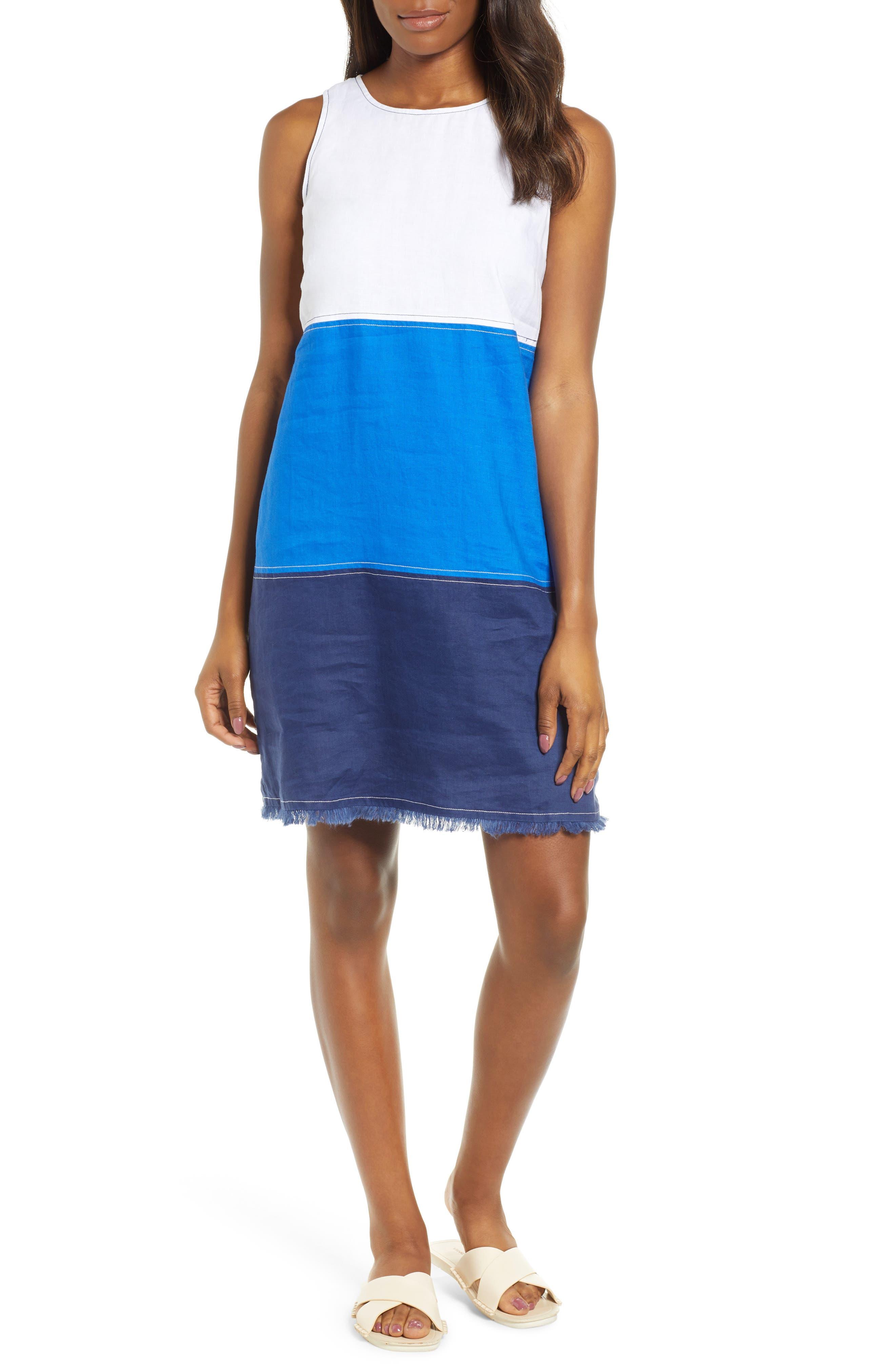 Tommy Bahama Two Palms Colorblock Linen Shift Dress, Blue