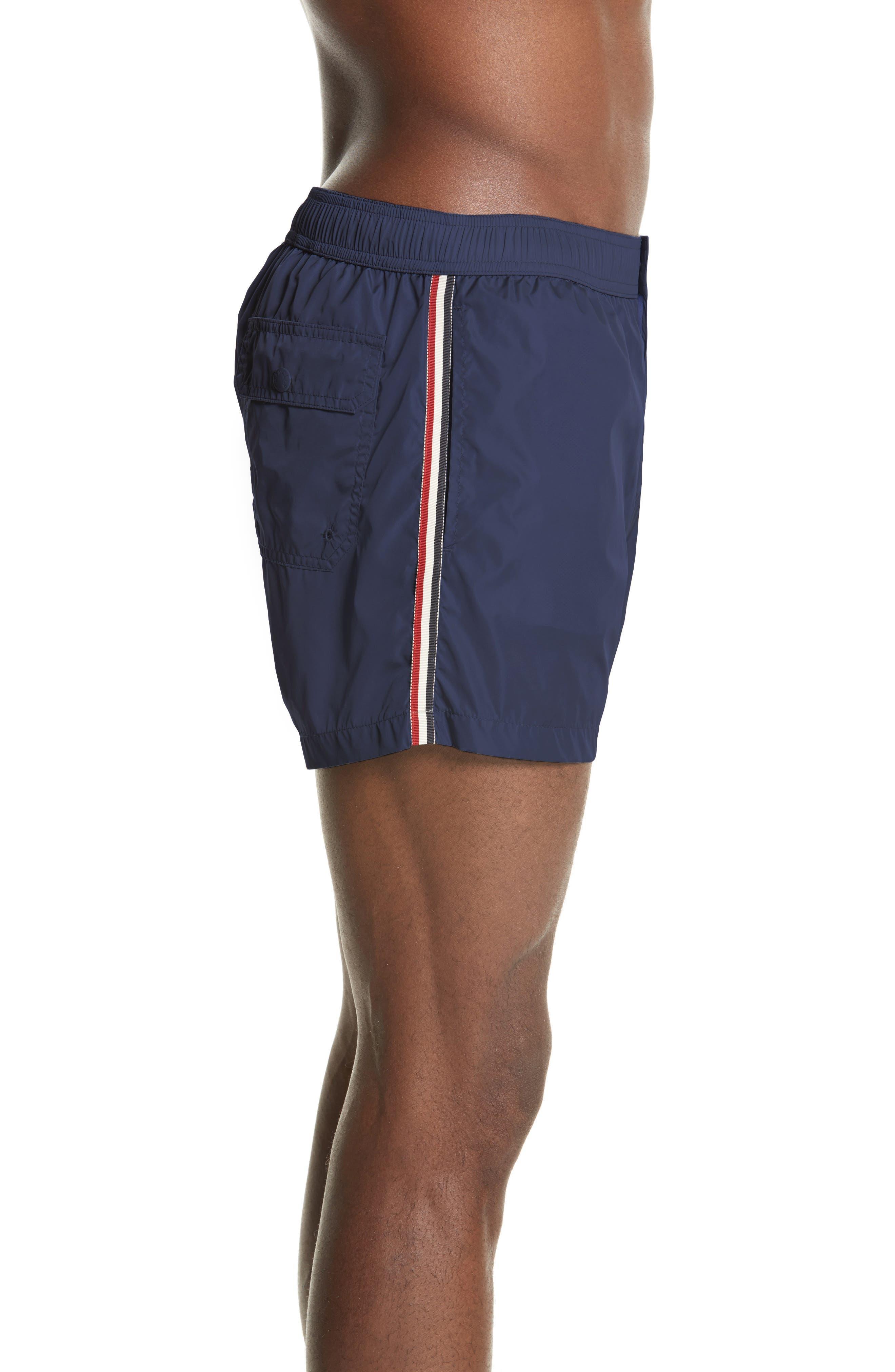 MONCLER, Boxer Mare Swim Shorts, Alternate thumbnail 3, color, BLUE
