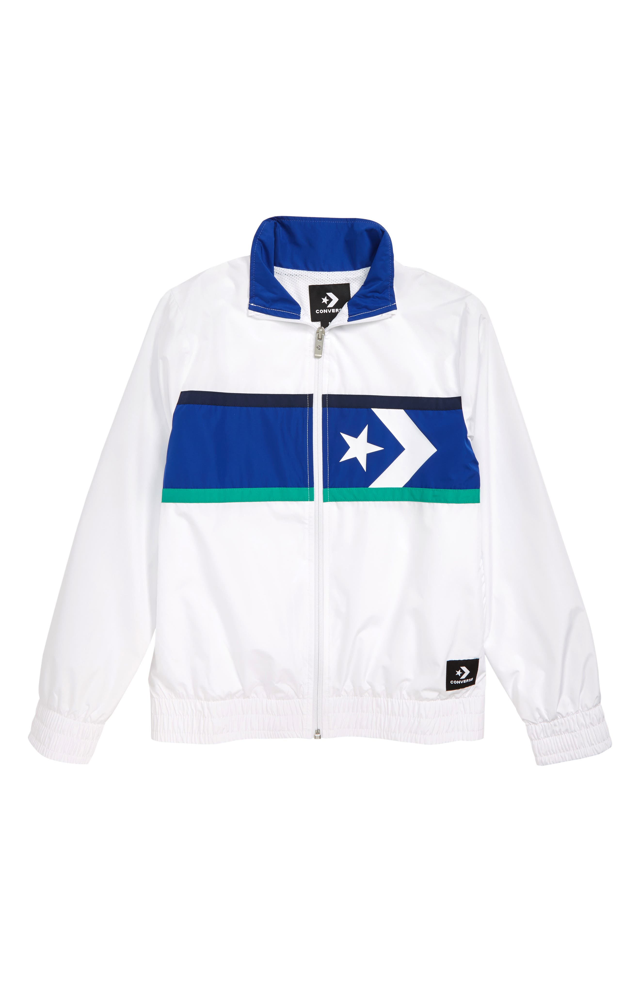 CONVERSE, Star Chevron Water Resistant Wind Jacket, Main thumbnail 1, color, WHITE