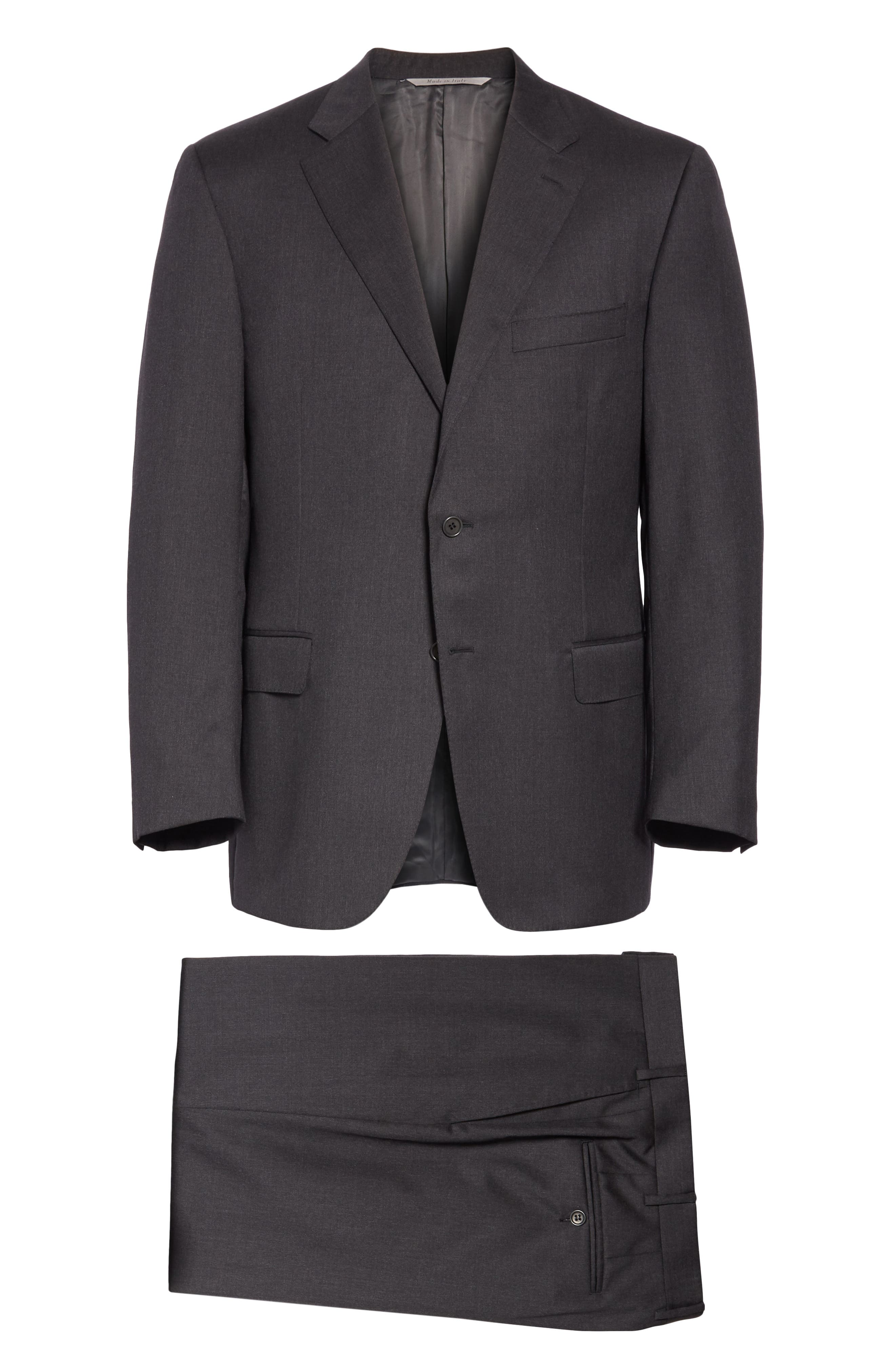 CANALI, Classic Fit Wool Suit, Alternate thumbnail 8, color, CHARCOAL
