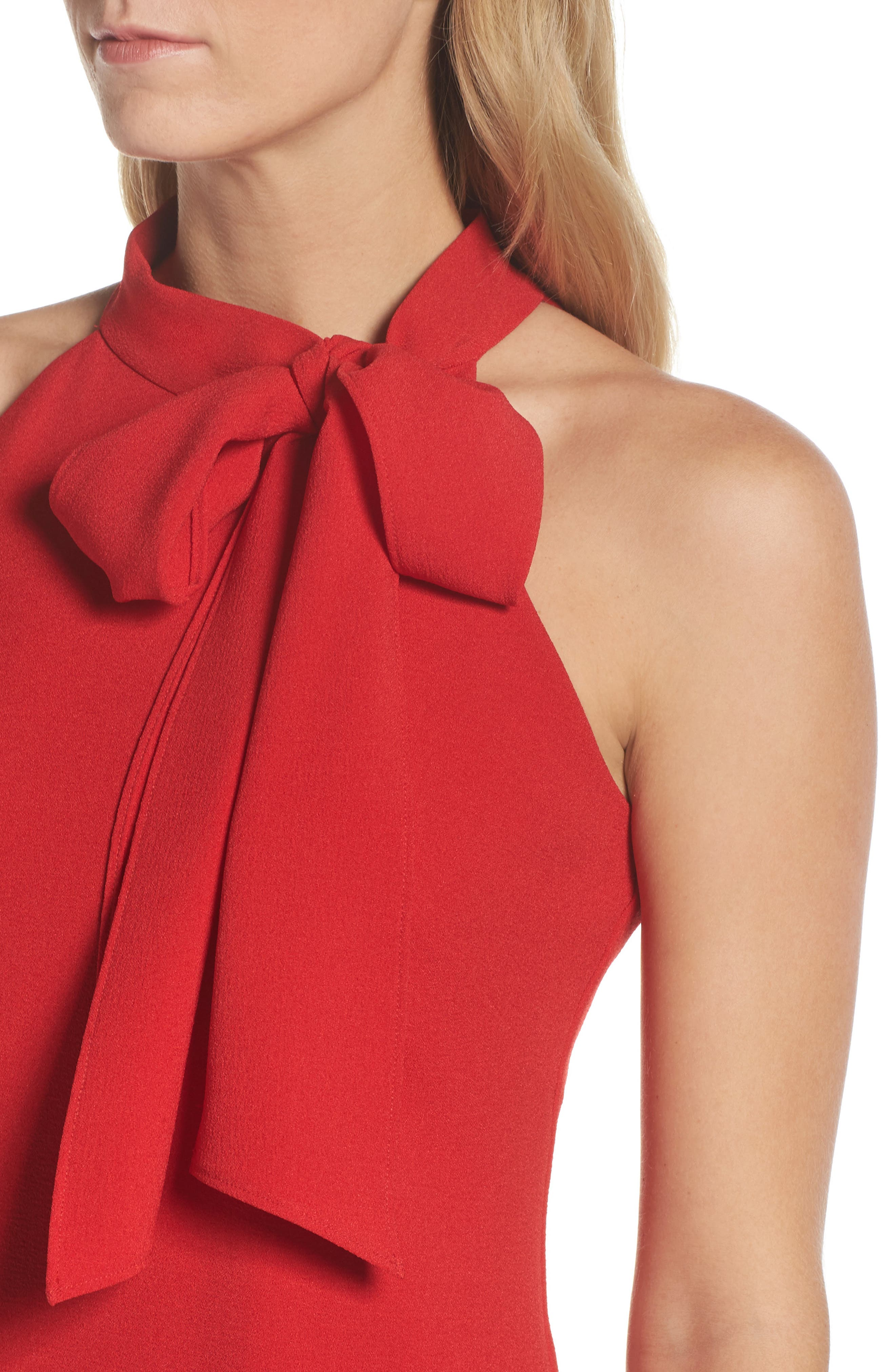 VINCE CAMUTO, Halter Tie Neck A-Line Dress, Alternate thumbnail 5, color, RED