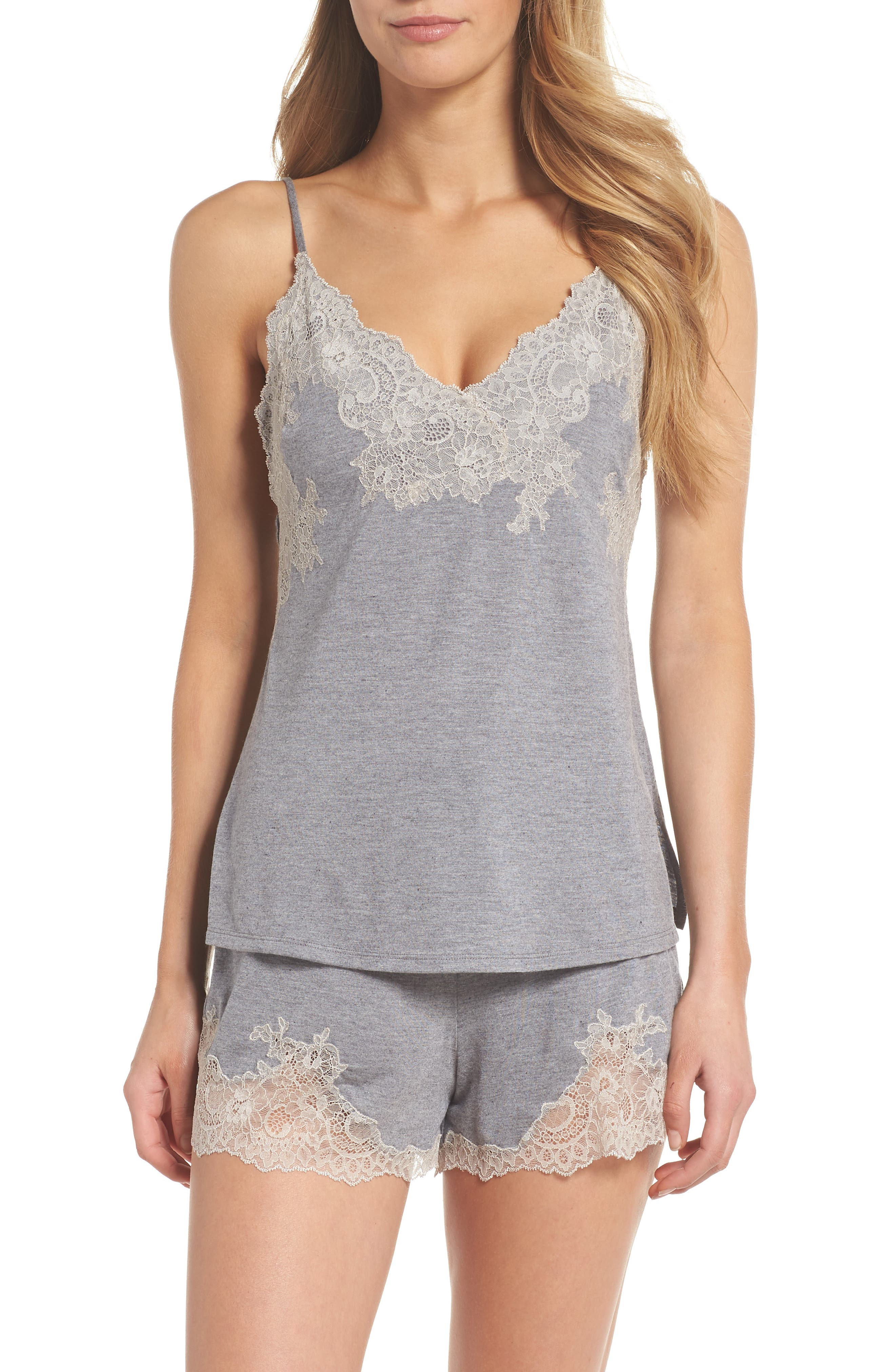 NATORI, Luxe Shangri-La Short Pajamas, Main thumbnail 1, color, GREY