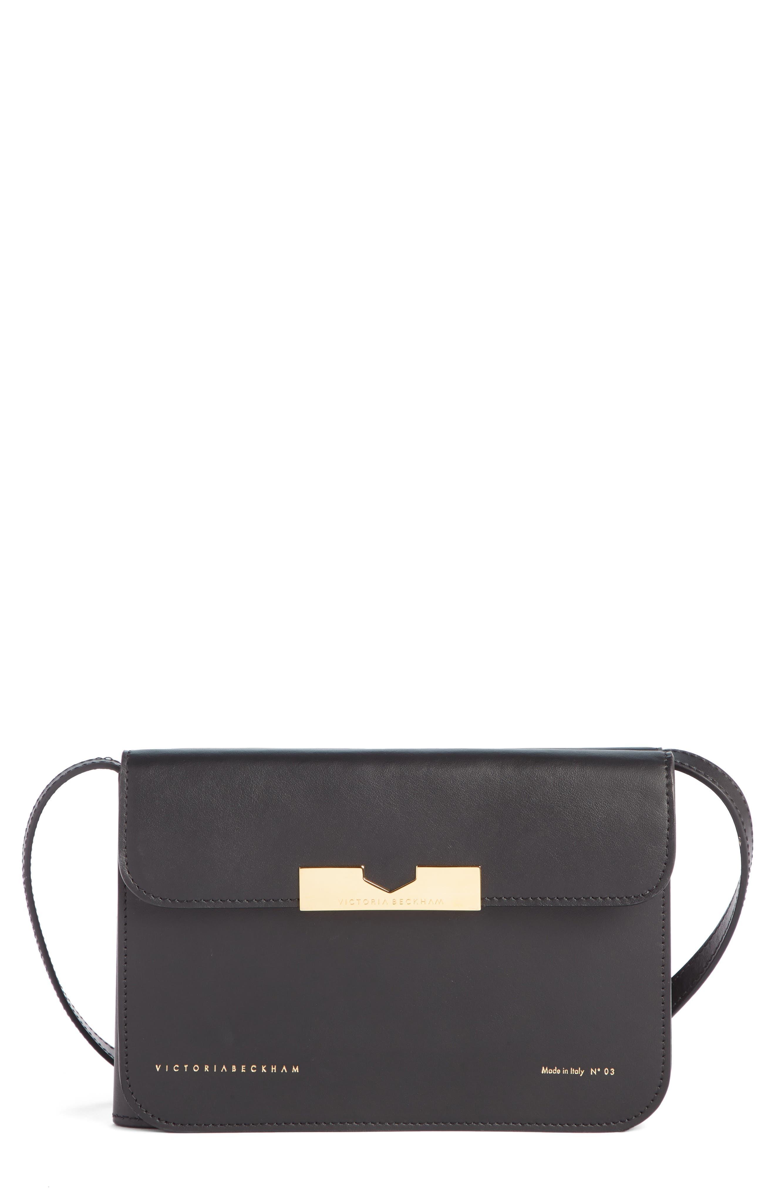 VICTORIA BECKHAM, Twin Leather Crossbody Bag, Main thumbnail 1, color, BLACK