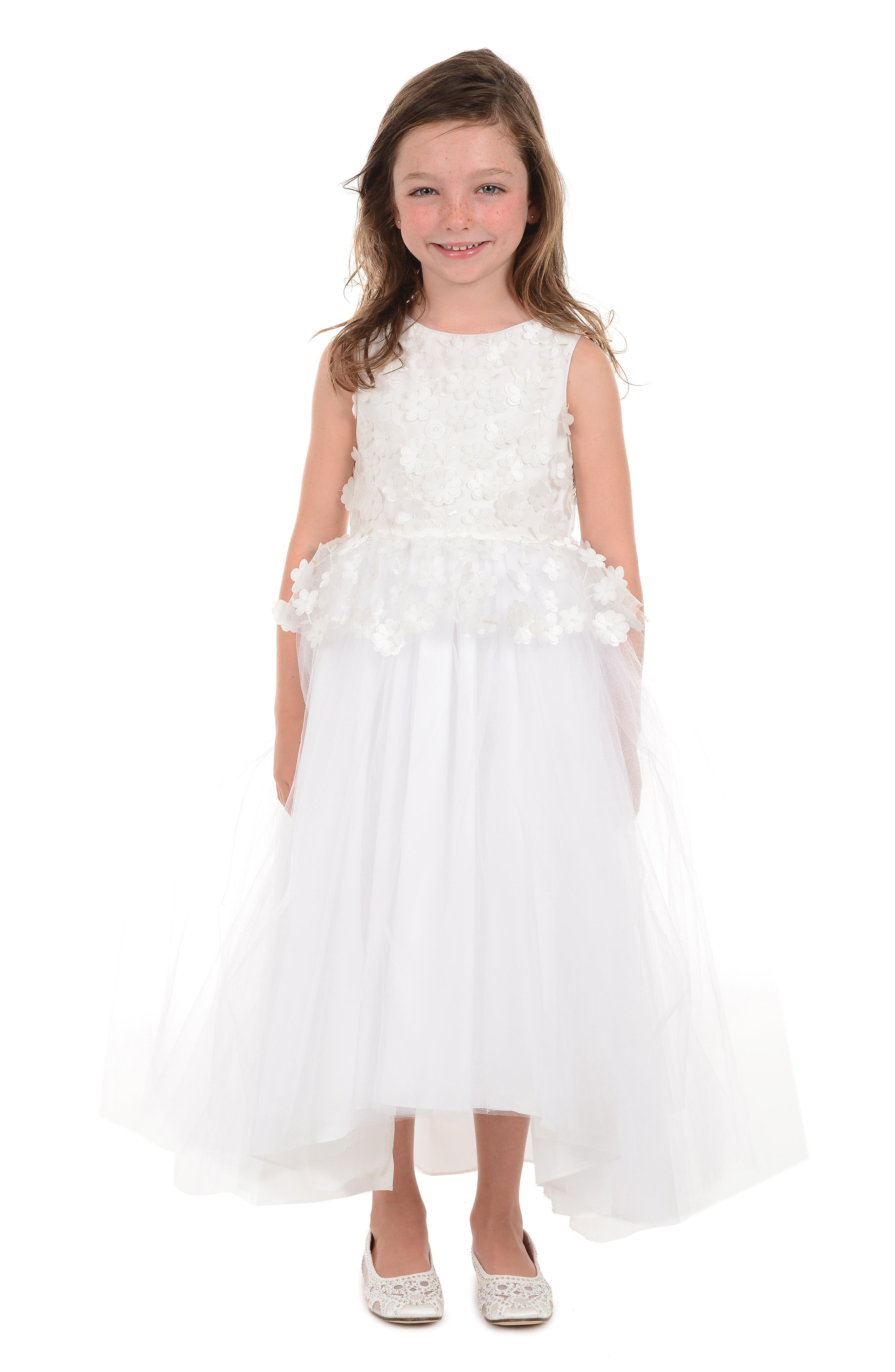 BADGLEY MISCHKA COLLECTION, Badgley Mischka 3D Flower Peplum Dress, Alternate thumbnail 3, color, WHITE