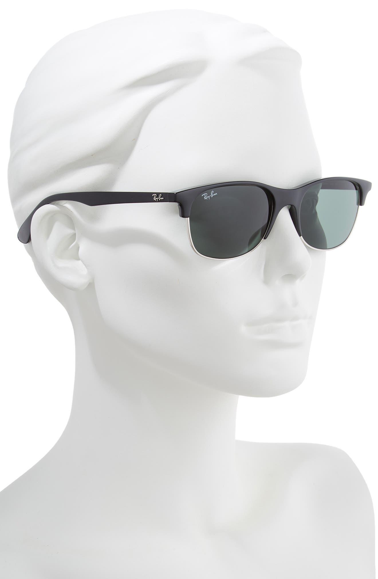 RAY-BAN, 55mm Sunglasses, Alternate thumbnail 2, color, BLACK/ DARK GREEN SOLID