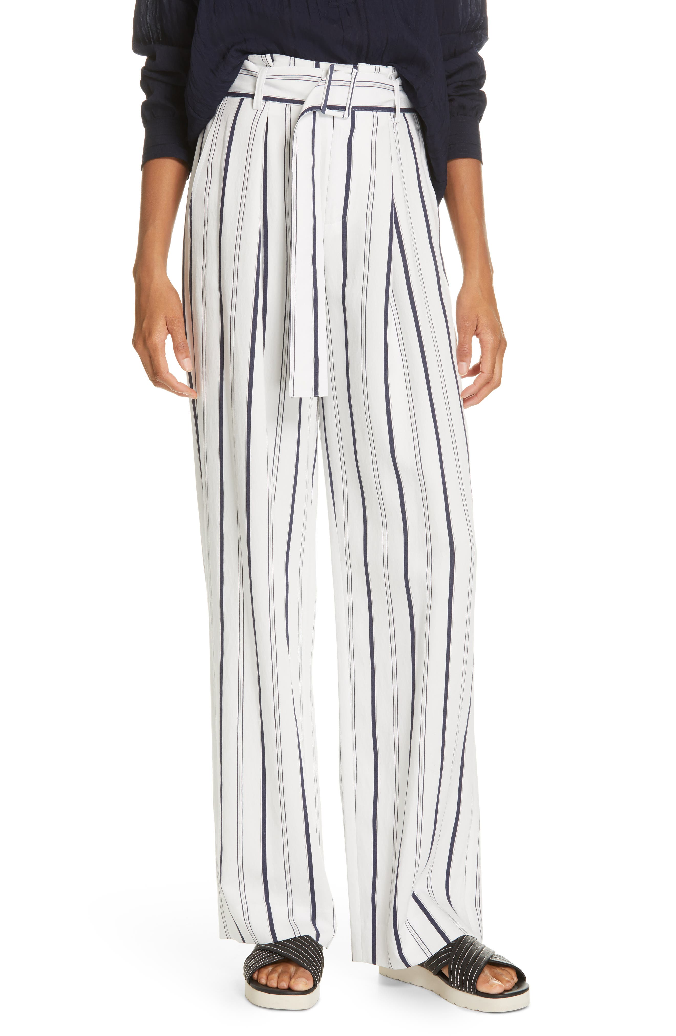 VINCE, Belted Stripe Pants, Main thumbnail 1, color, OFF WHITE