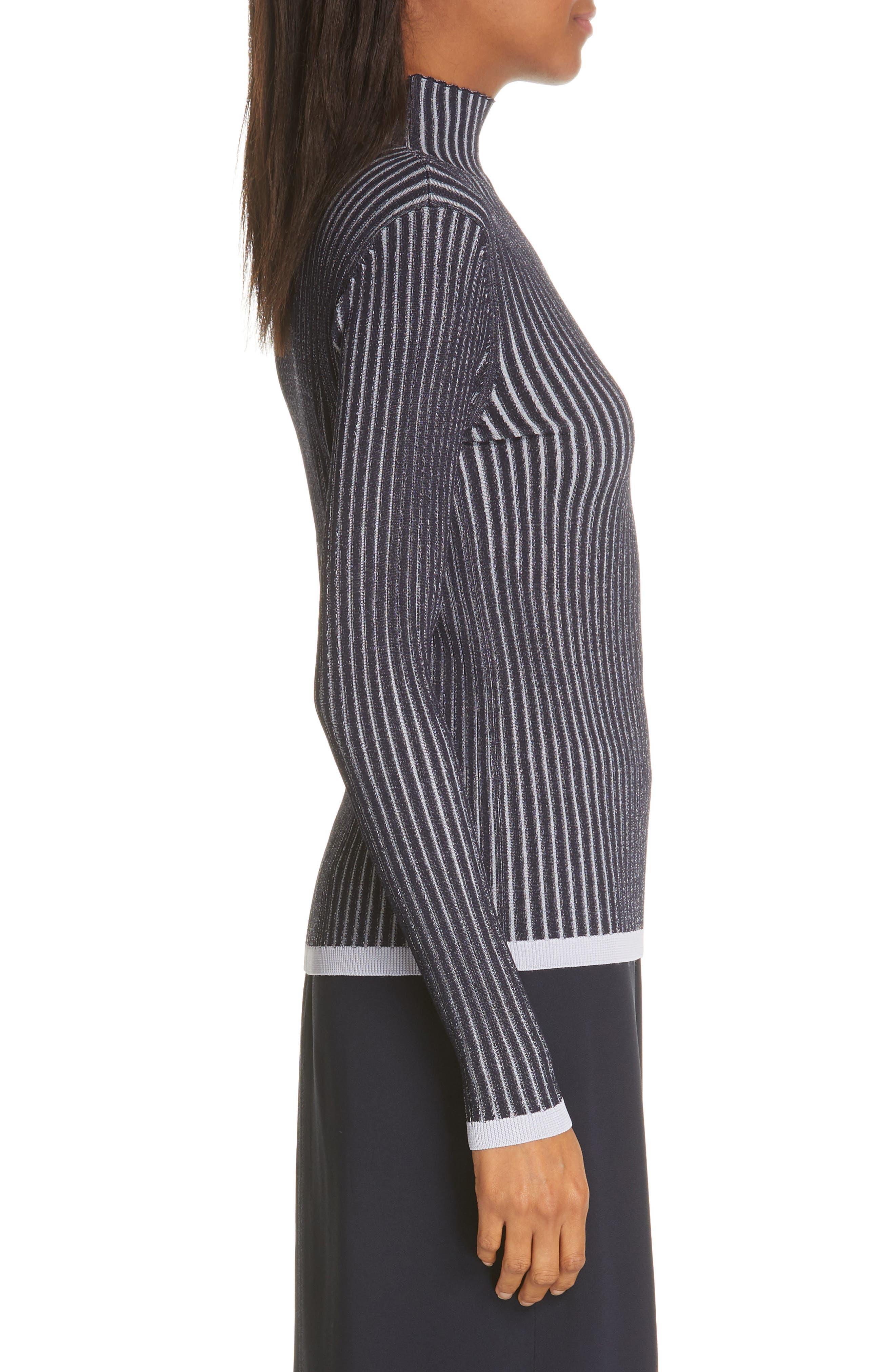 LEWIT, Stripe Ribbed Mock Neck Sweater, Alternate thumbnail 3, color, NAVY ICELANDIC STRIPE
