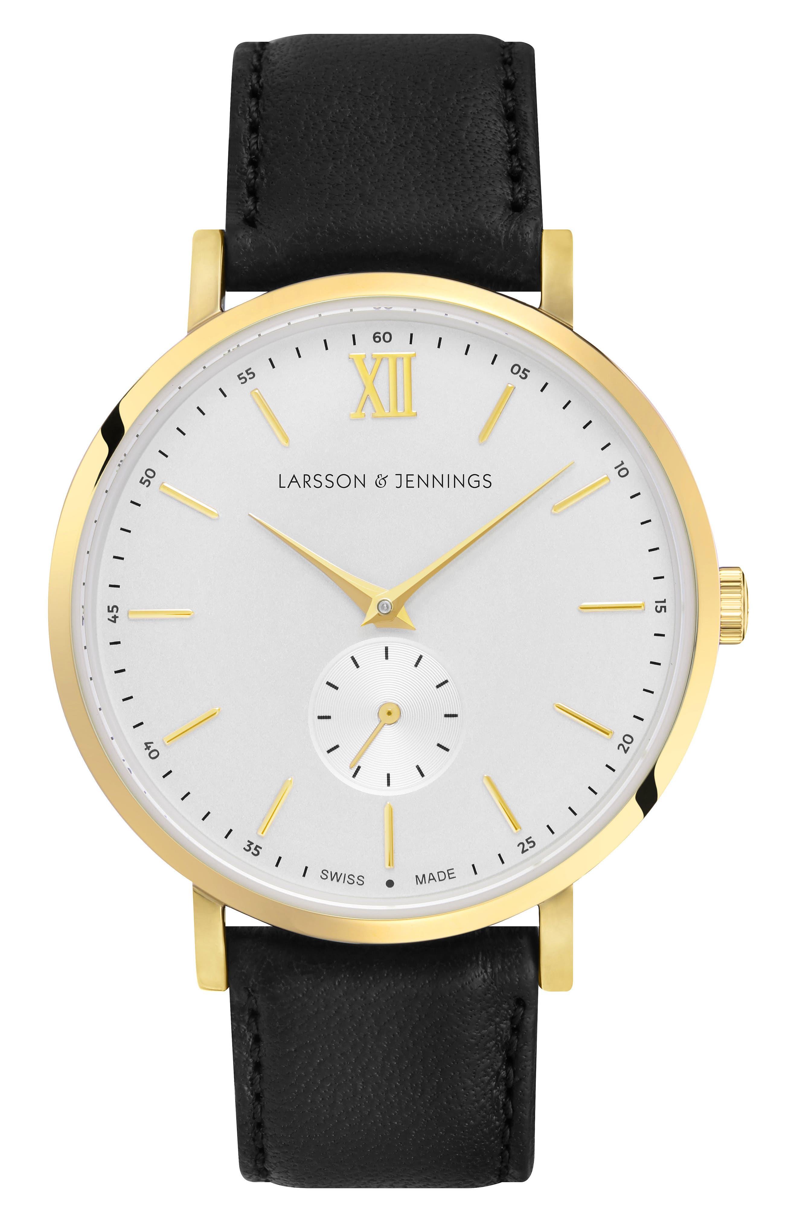 LARSSON & JENNINGS, Lugano Leather Strap Watch, 38mm, Main thumbnail 1, color, 001