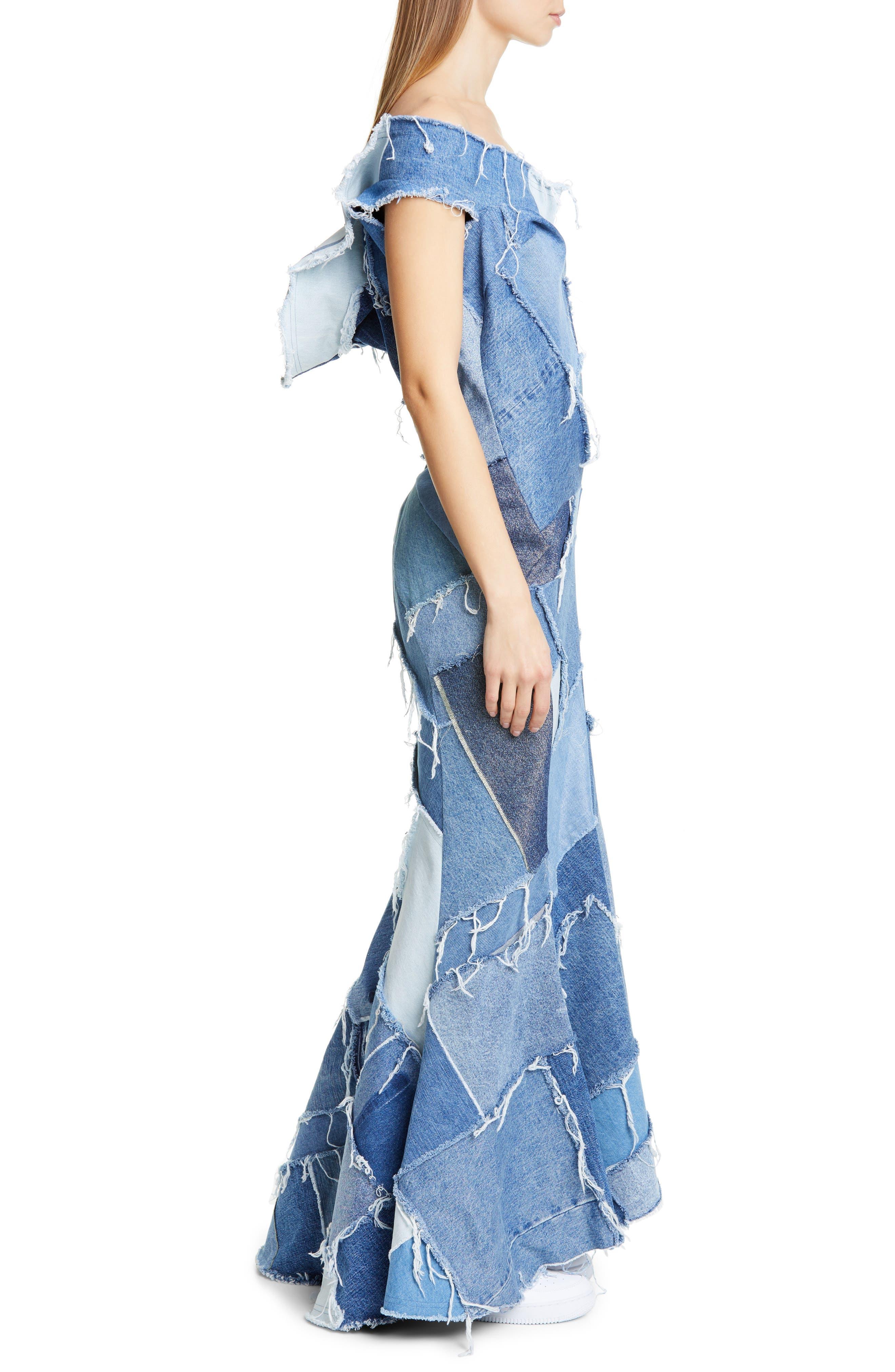 JUNYA WATANABE, Denim Patchwork Off the Shoulder Mermaid Dress, Alternate thumbnail 4, color, INDIGO