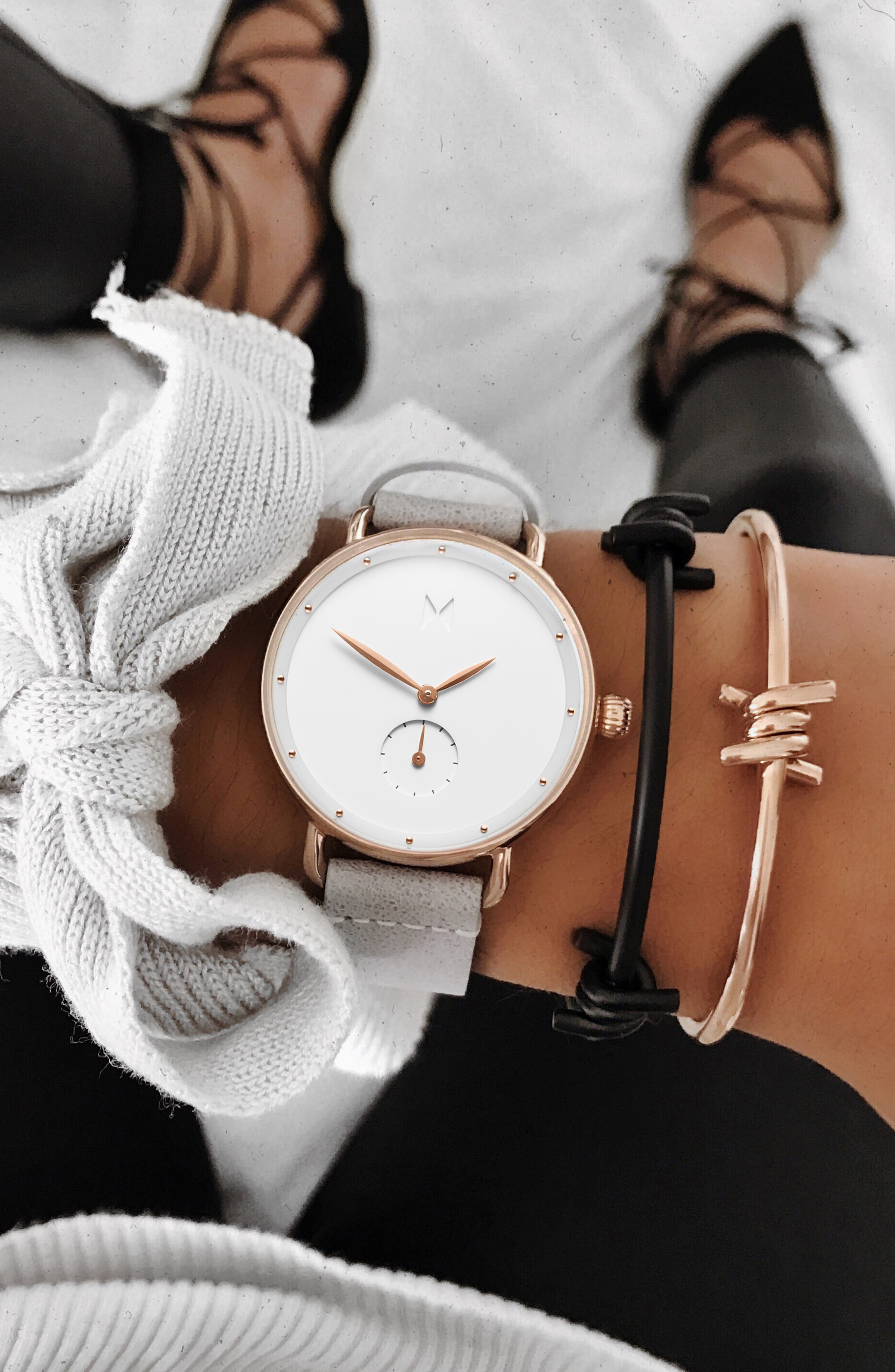 MVMT, Bloom Leather Strap Watch, 36mm, Alternate thumbnail 2, color, GREY/ WHITE/ ROSE GOLD