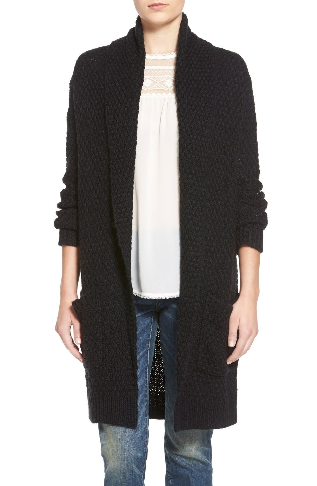 HINGE Marled Long Open Front Cardigan, Main, color, 001