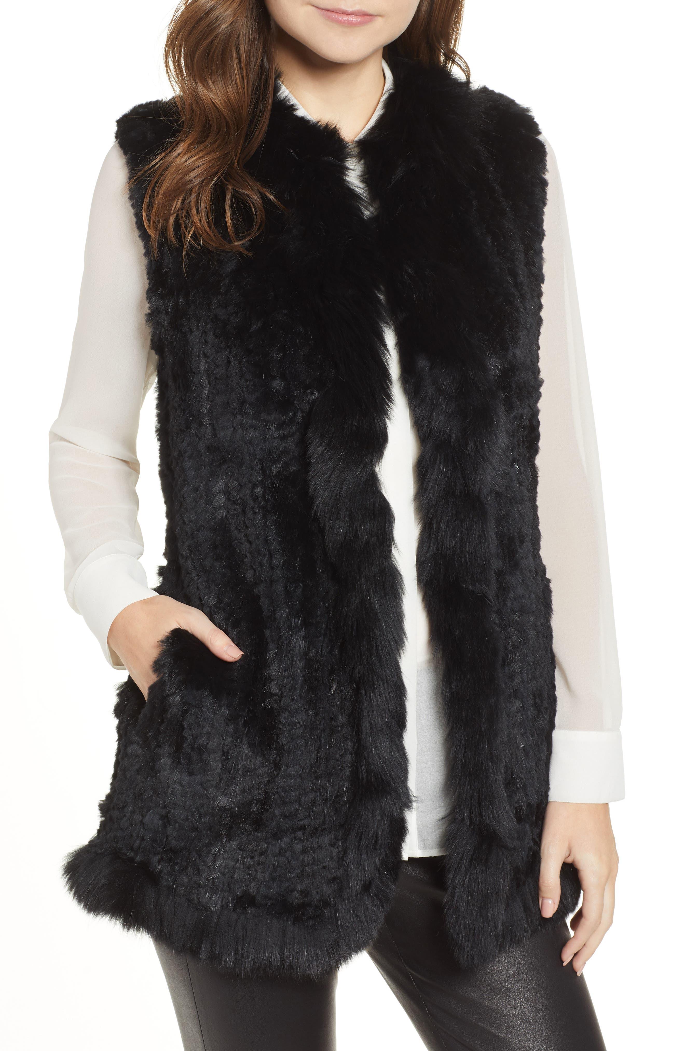 LOVE TOKEN Genuine Rabbit Fur Vest with Genuine Fox Fur Trim, Main, color, 001