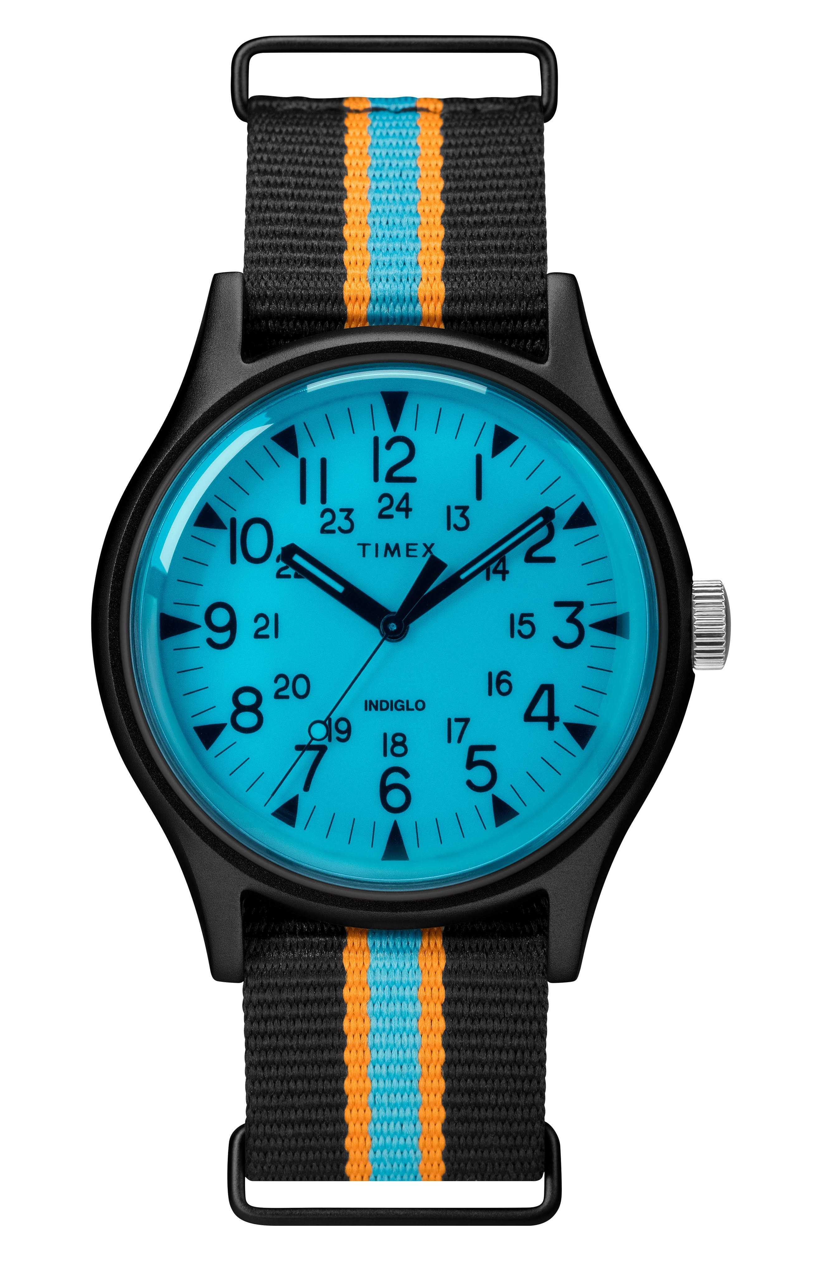 TIMEX<SUP>®</SUP>, MK1 Nylon Strap Watch, 40mm, Main thumbnail 1, color, BLACK / BLUE/ BLACK