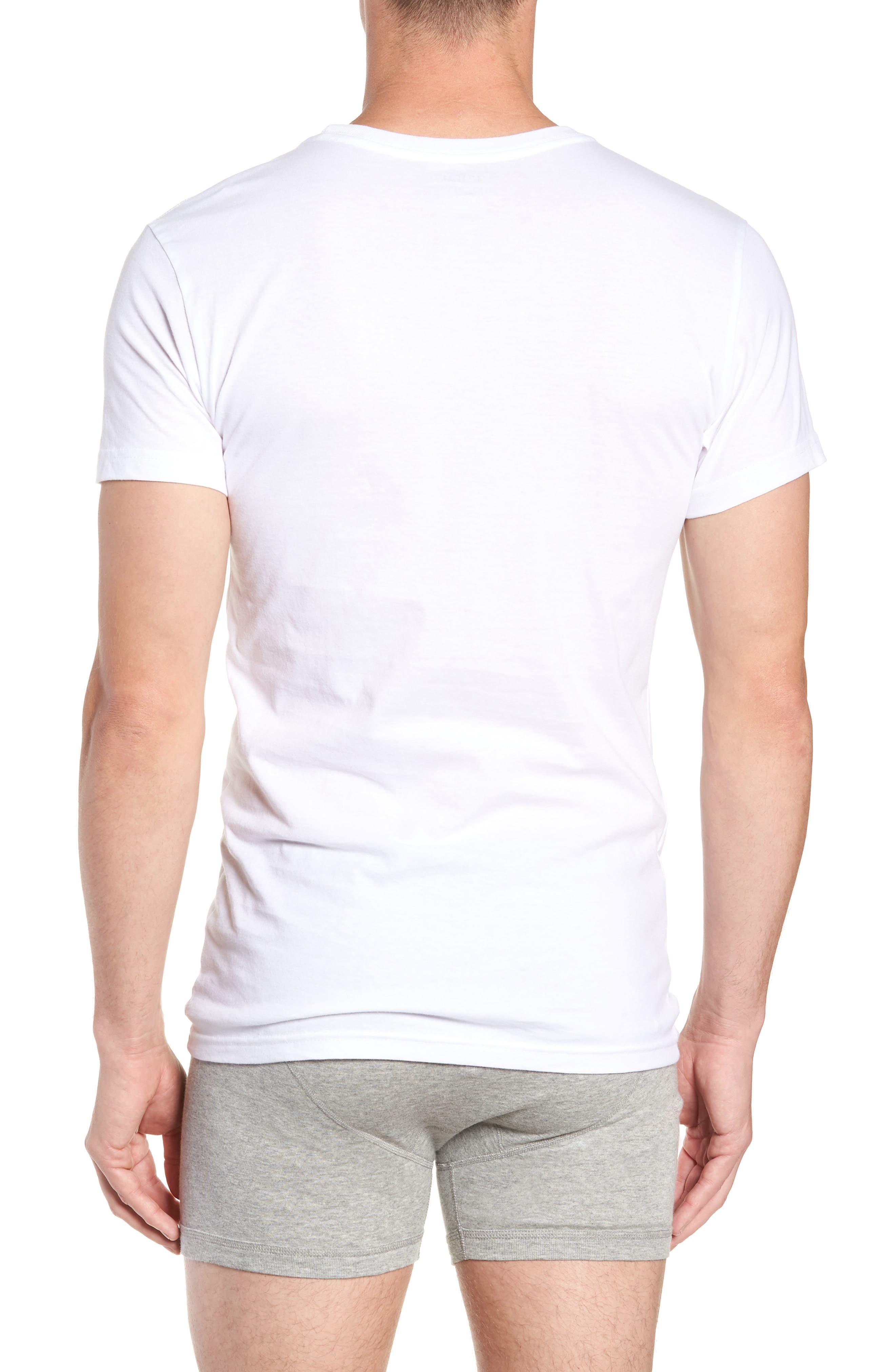 LAUREN RALPH LAUREN, Polo Ralph Lauren 3-Pack Slim Fit Crewneck T-Shirts, Alternate thumbnail 3, color, WHITE